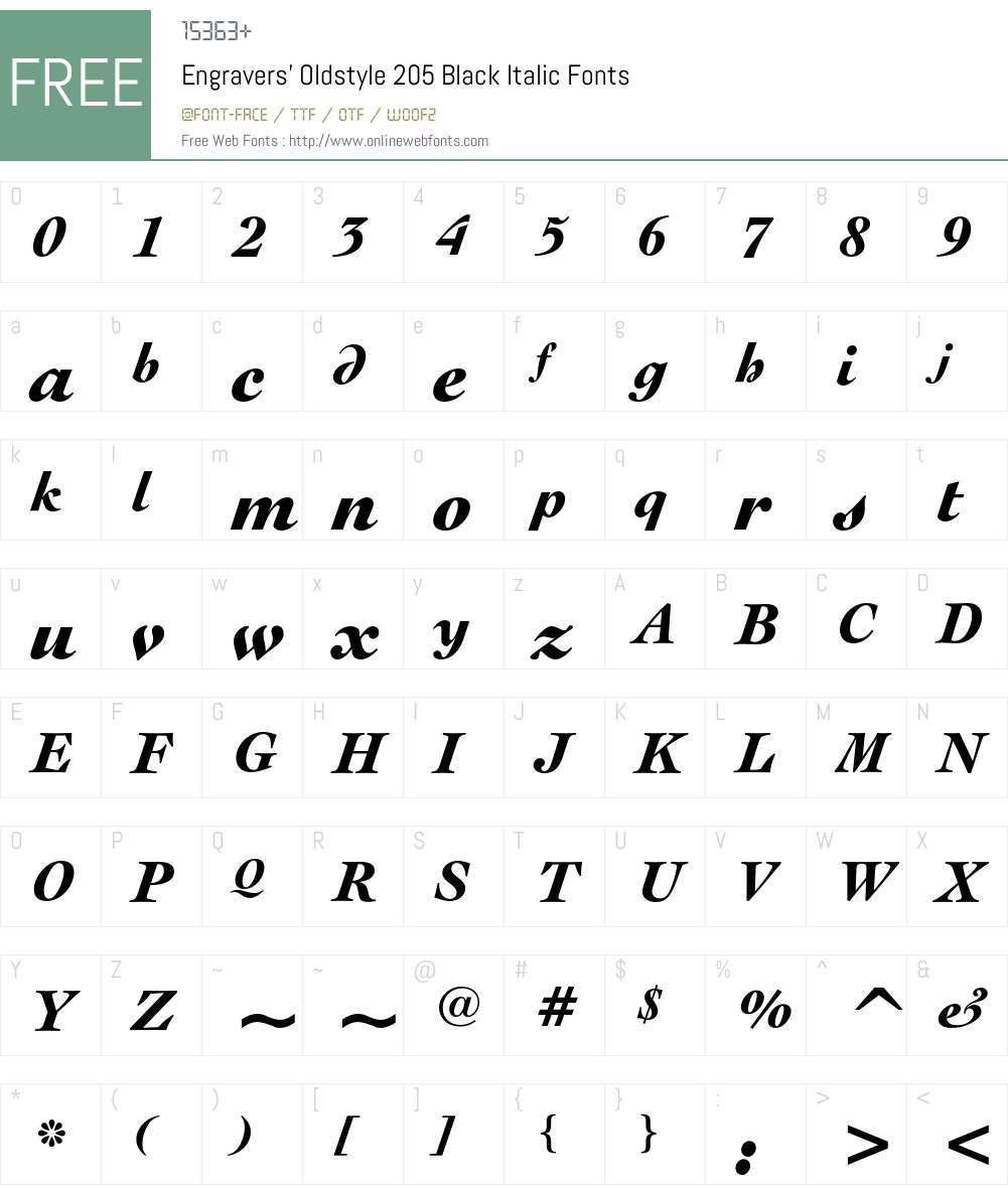 Engravers' Oldstyle 205 Font Screenshots