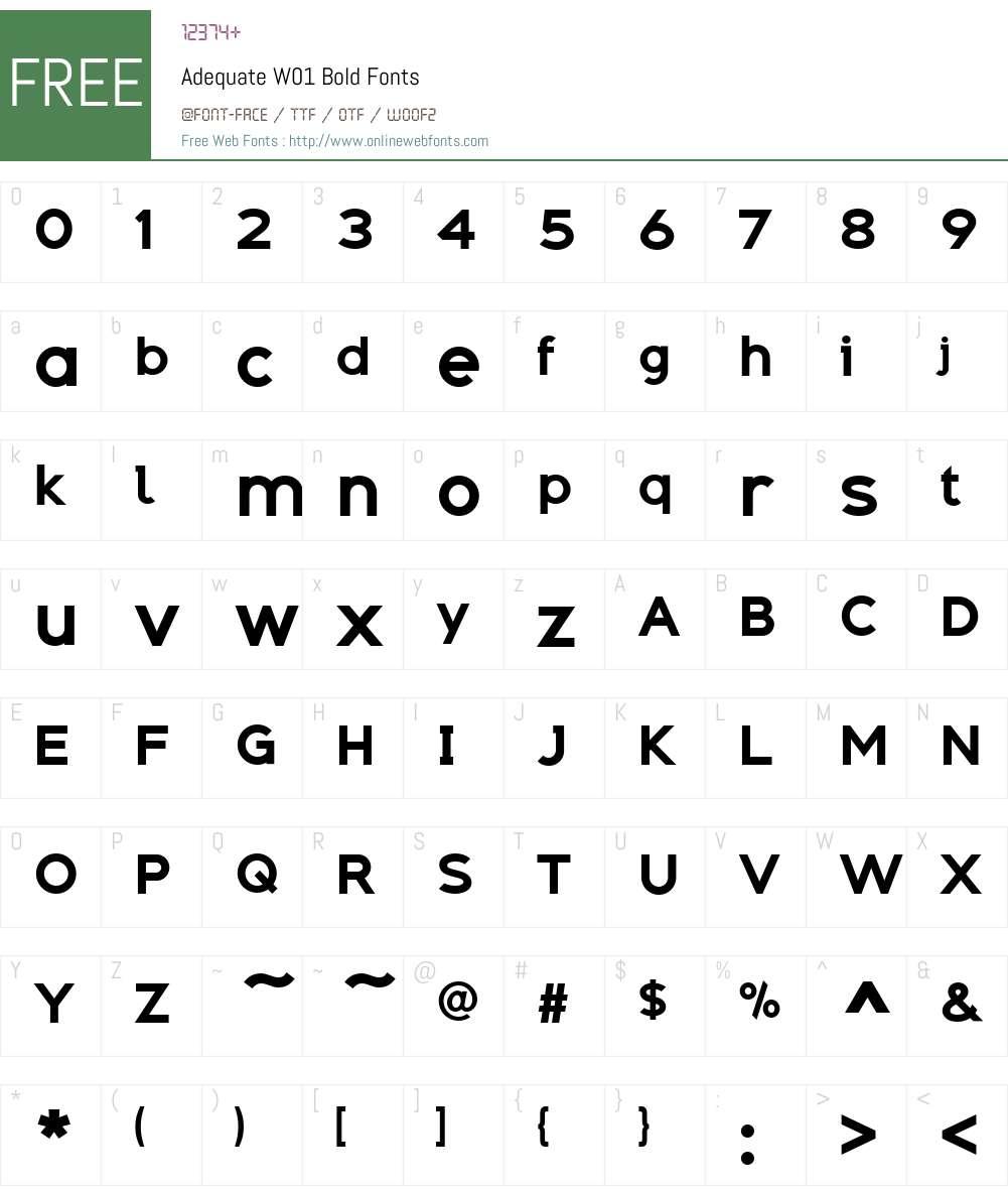 AdequateW01-Bold Font Screenshots
