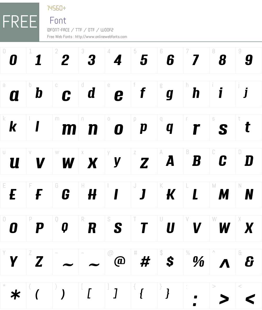 TriumpW01-BoldItalic Font Screenshots
