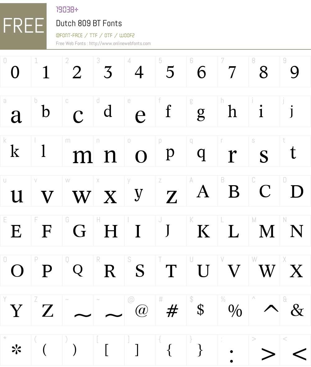 Dutch809 BT Font Screenshots