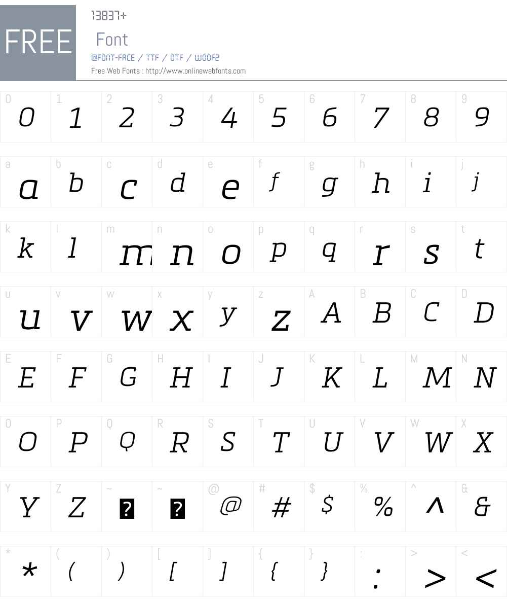 MetronicSlabW01-Lightitalic Font Screenshots