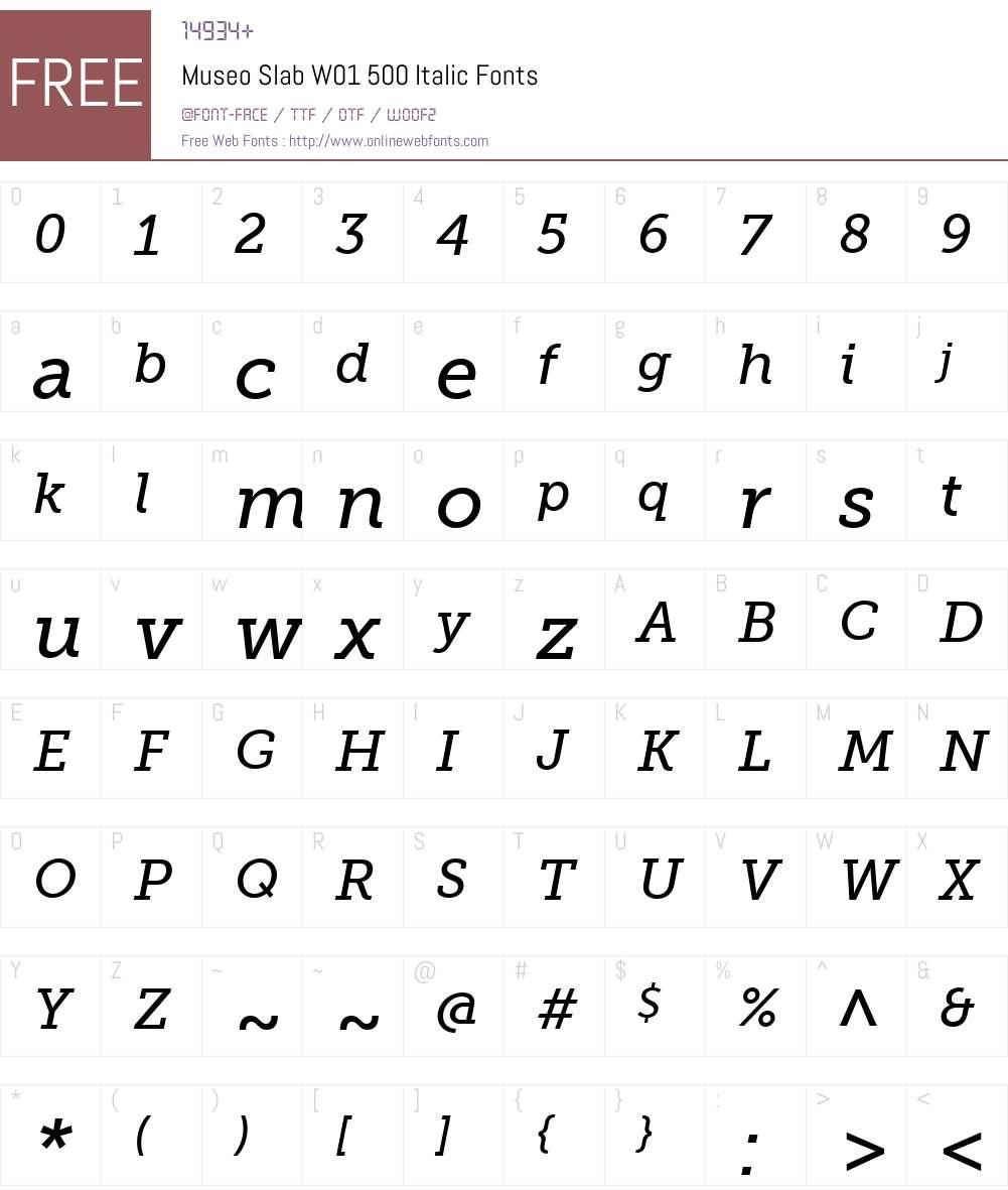 MuseoSlabW01-500Italic Font Screenshots