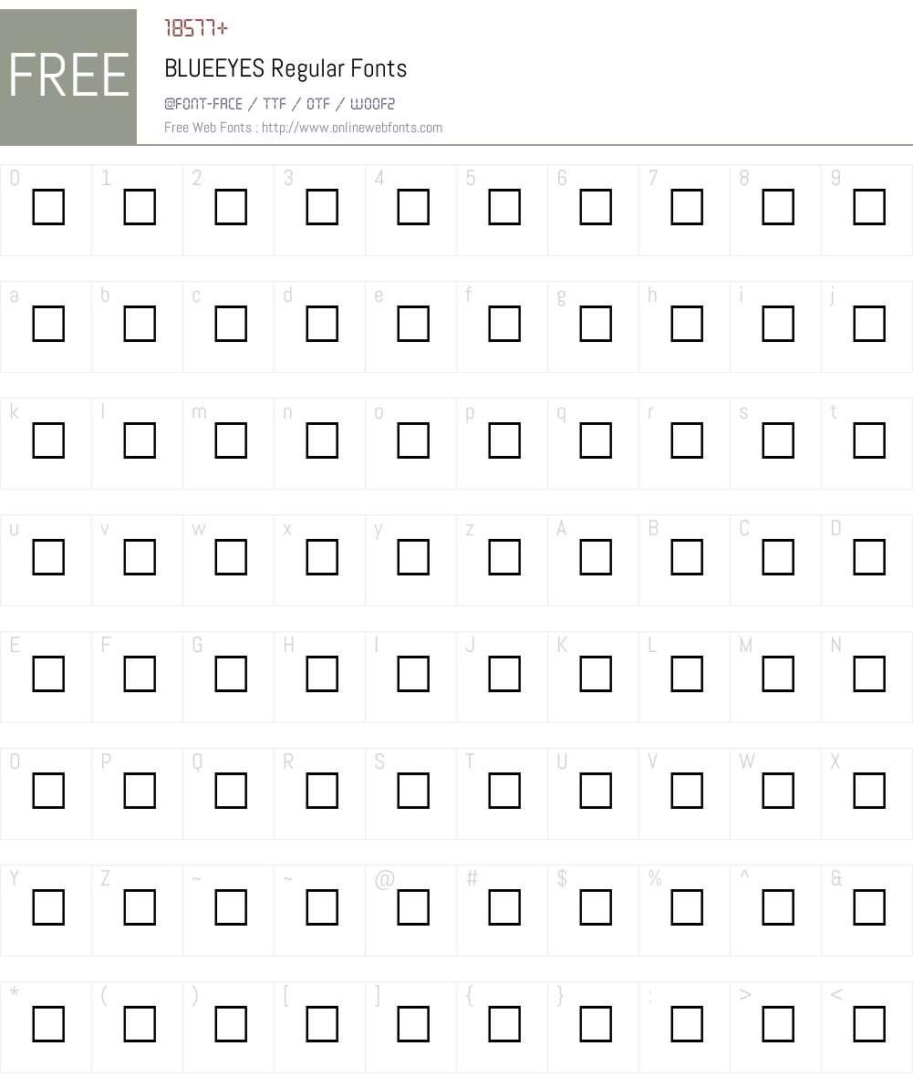 BLUEEYES Font Screenshots
