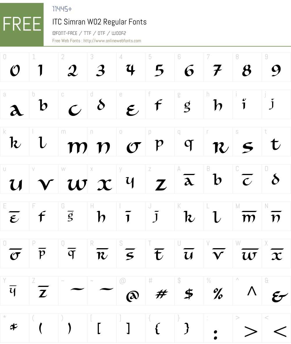 ITC Simran Font Screenshots