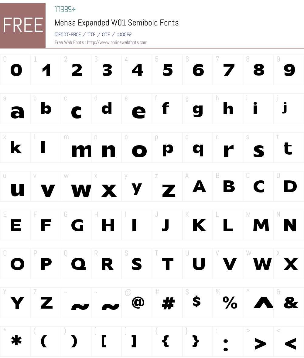 MensaExpandedW01-Semibold Font Screenshots