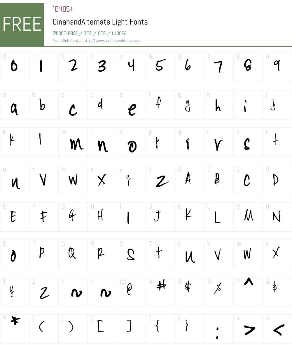 CinahandAlternate Font Screenshots