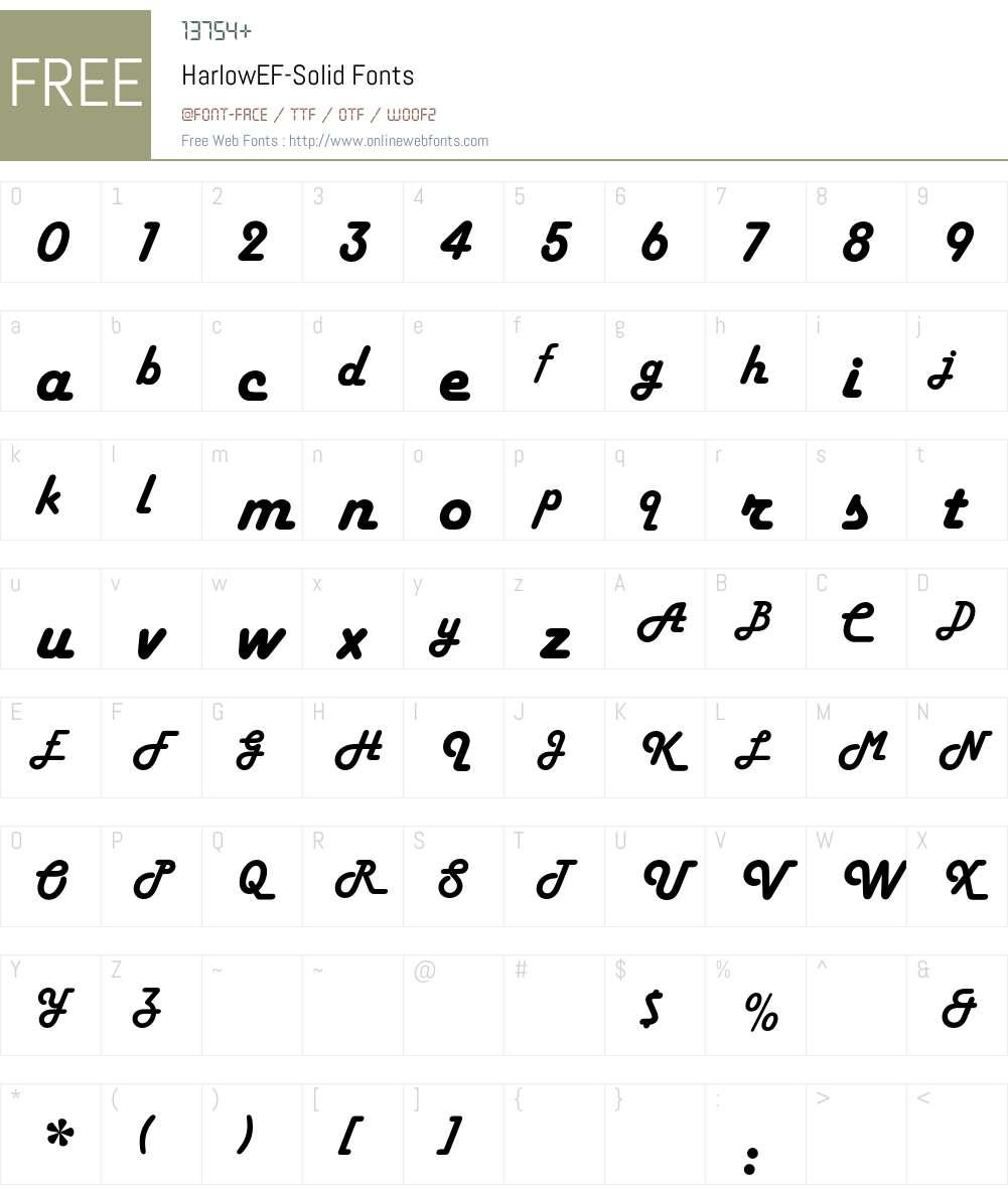 HarlowEF-Solid Font Screenshots