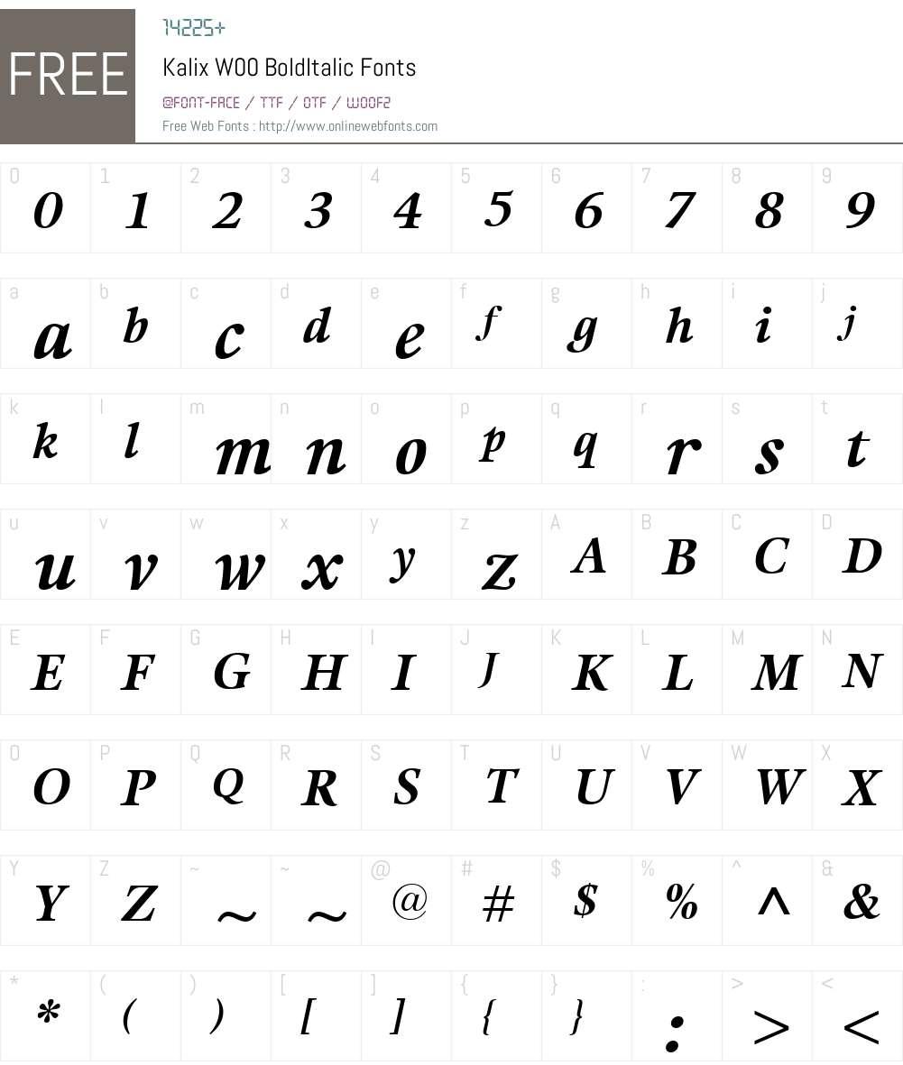 KalixW00-BoldItalic Font Screenshots