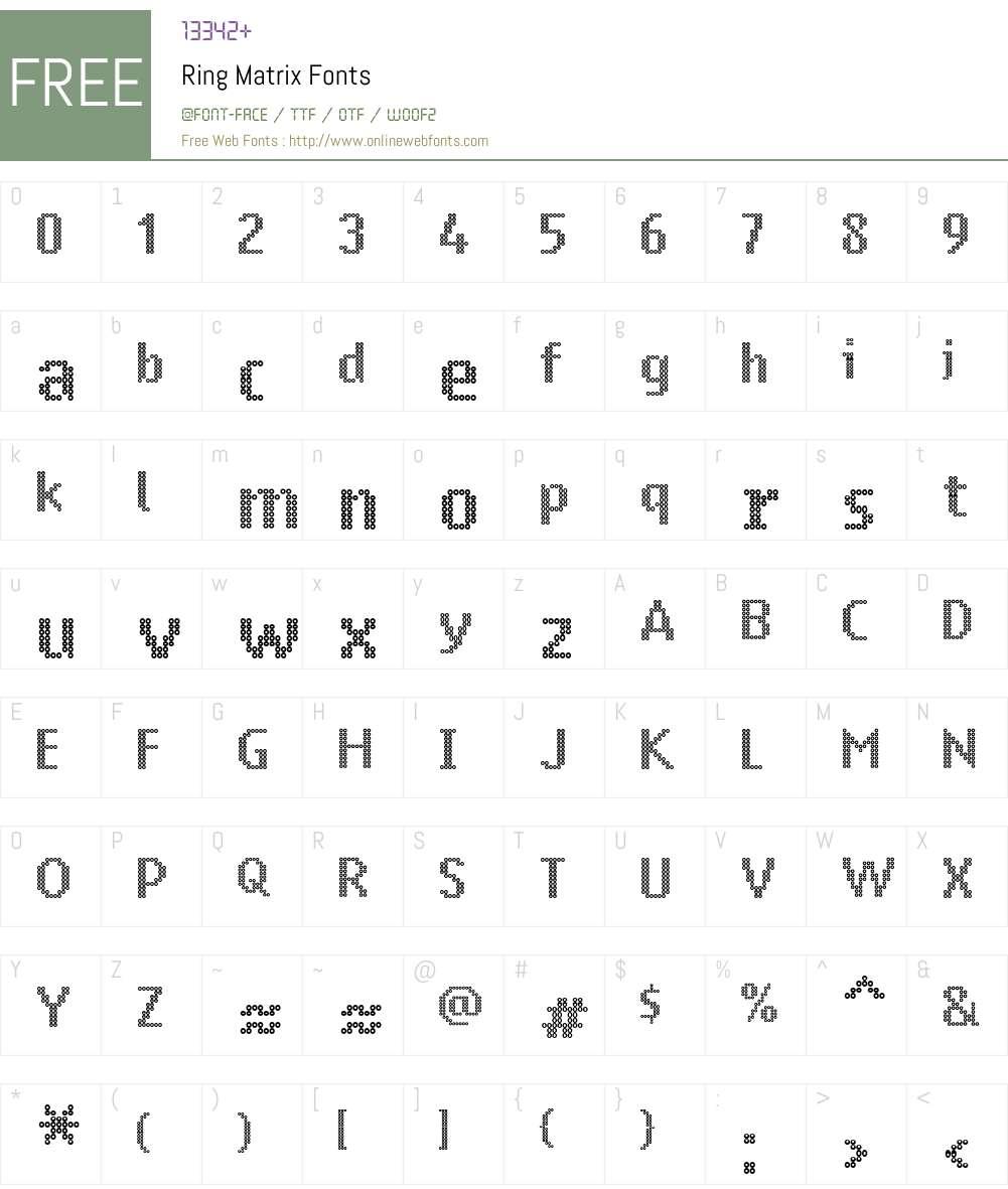 Ring Matrix Font Screenshots