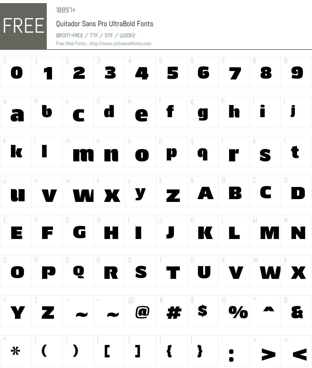 Quitador Sans Pro UltraBold Font Screenshots
