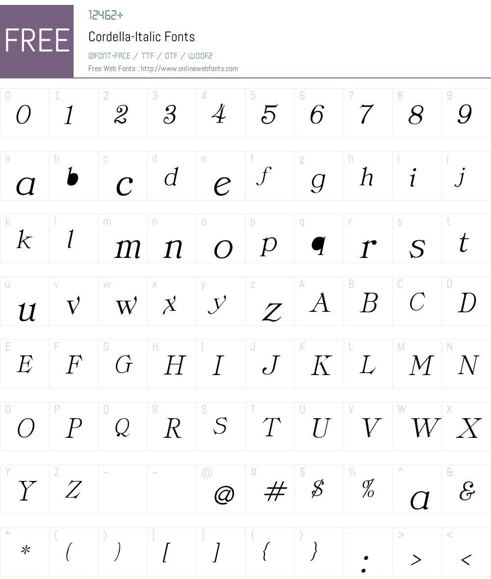 Cordella-Italic Font Screenshots