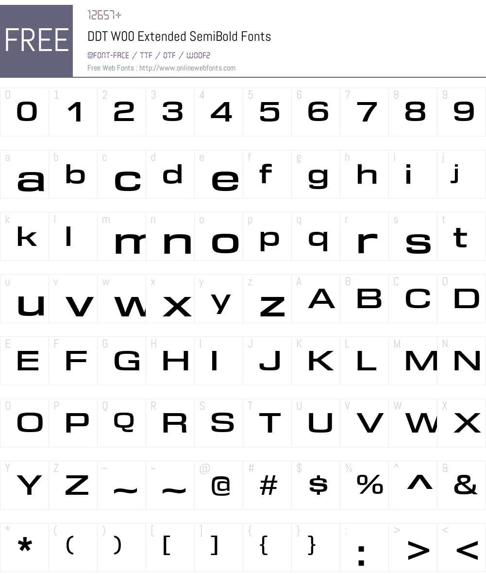 DDTW00-ExtendedSemiBold Font Screenshots