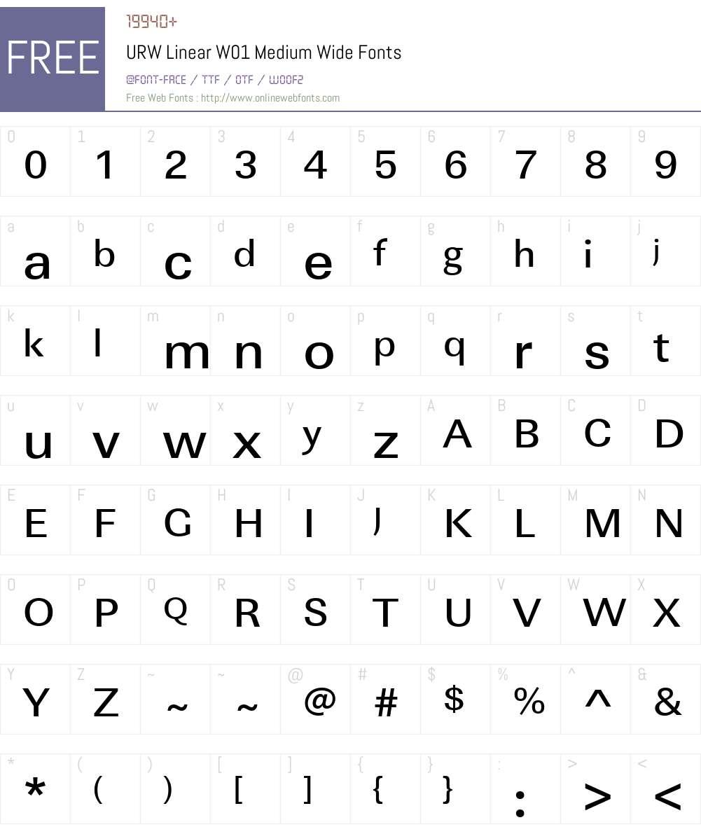 URWLinearW01-MediumWide Font Screenshots