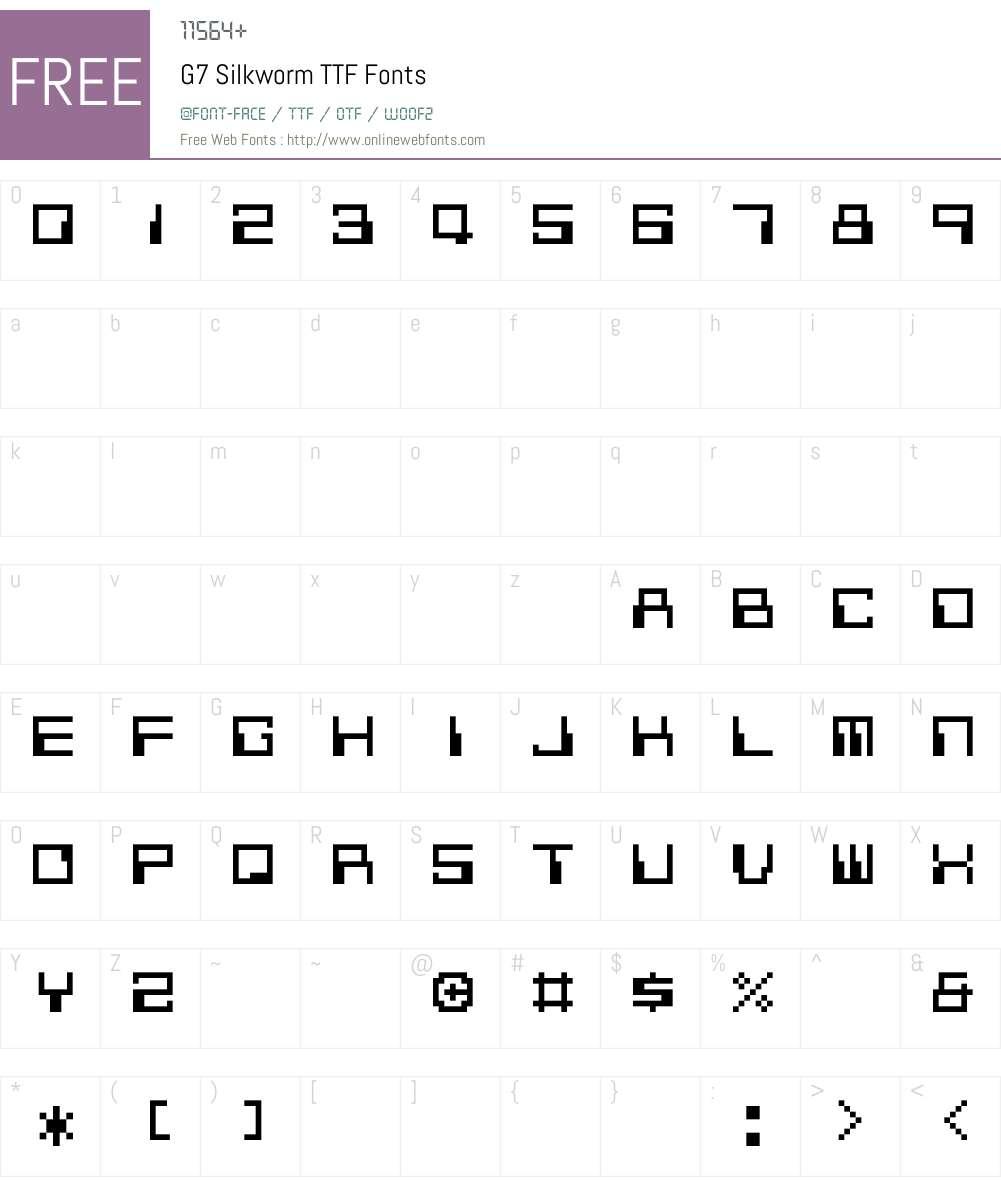 G7 Silkworm TTF Font Screenshots
