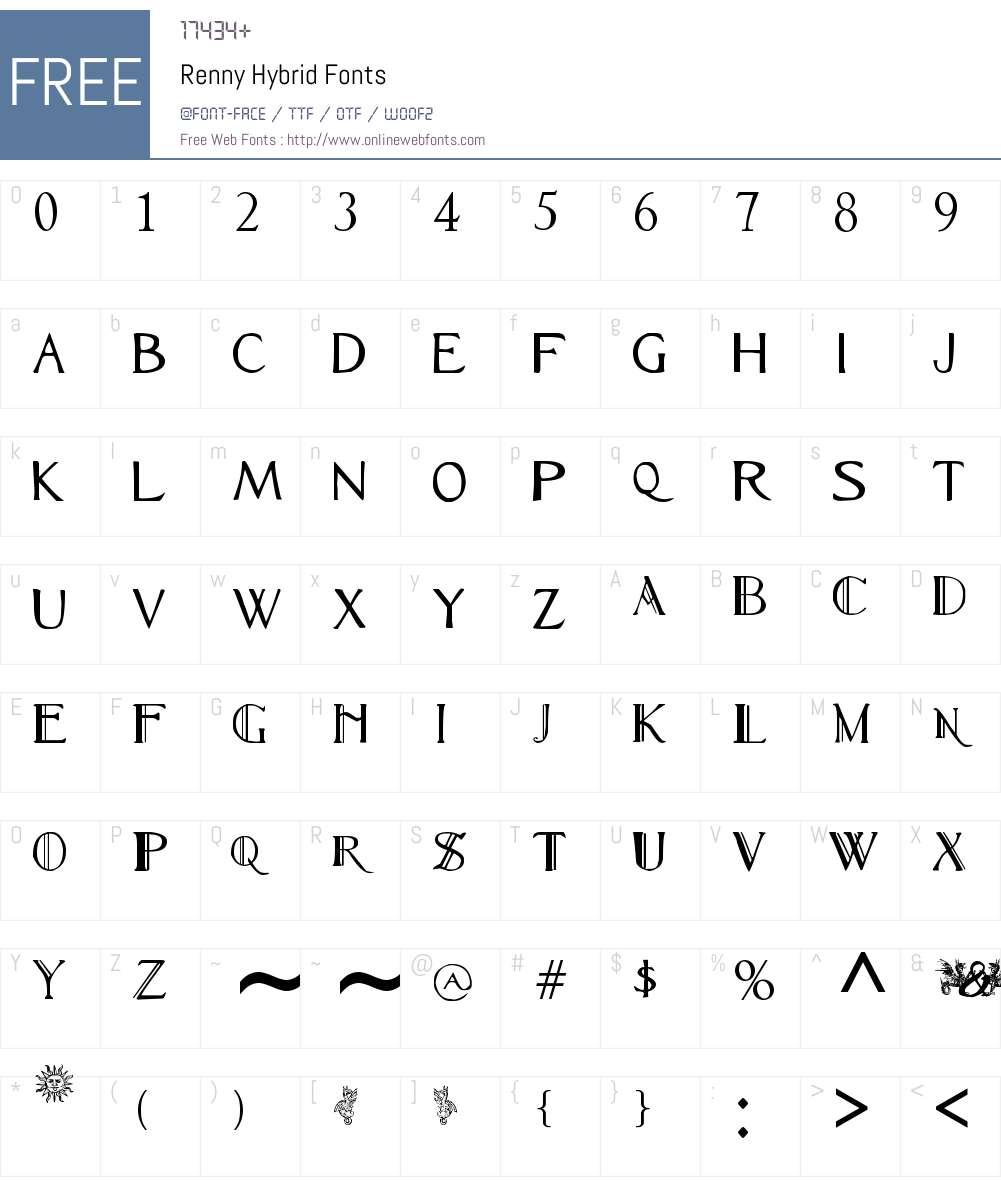Renny Hybrid Font Screenshots