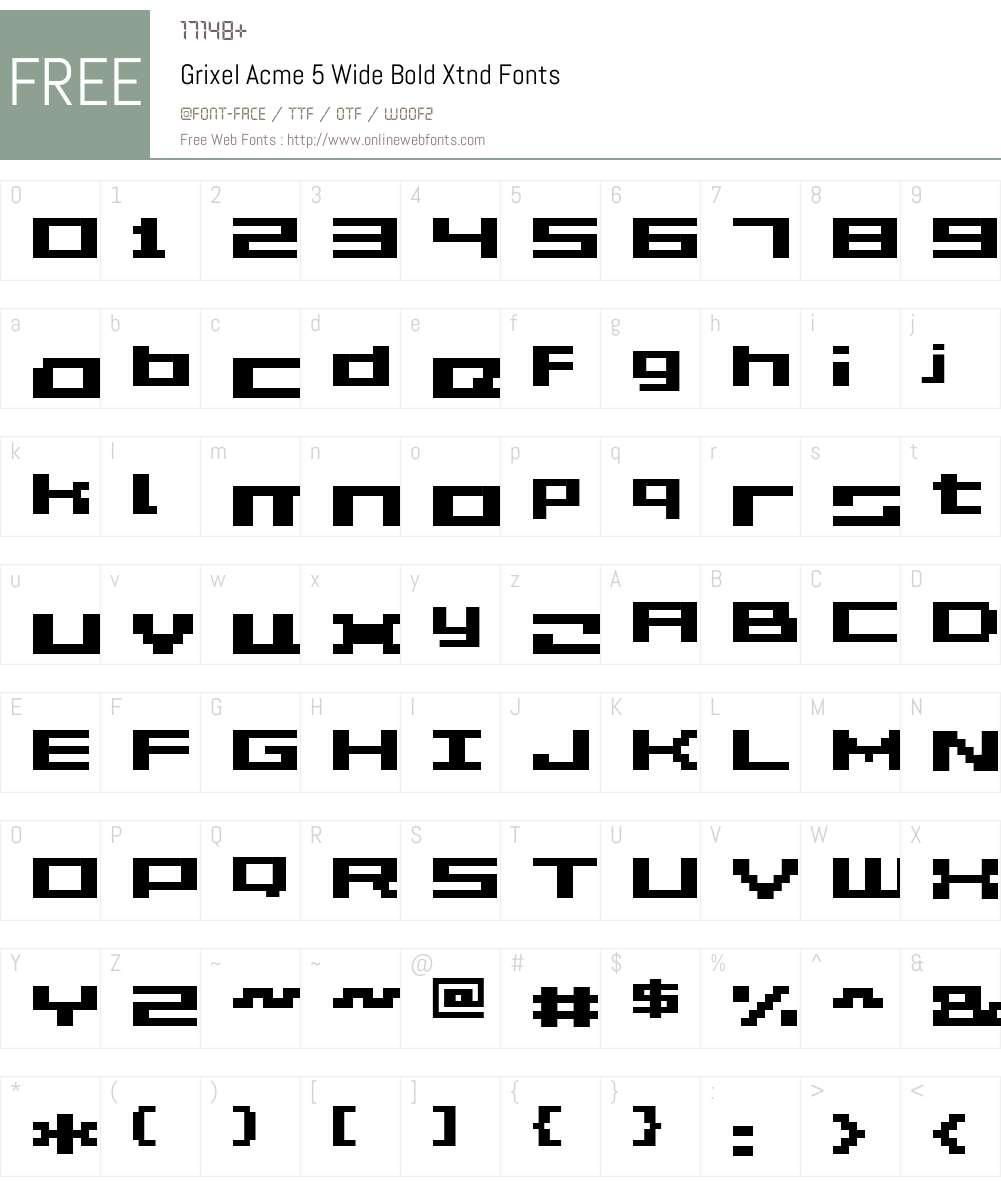 Grixel Acme 5 Wide Bold Xtnd Font Screenshots