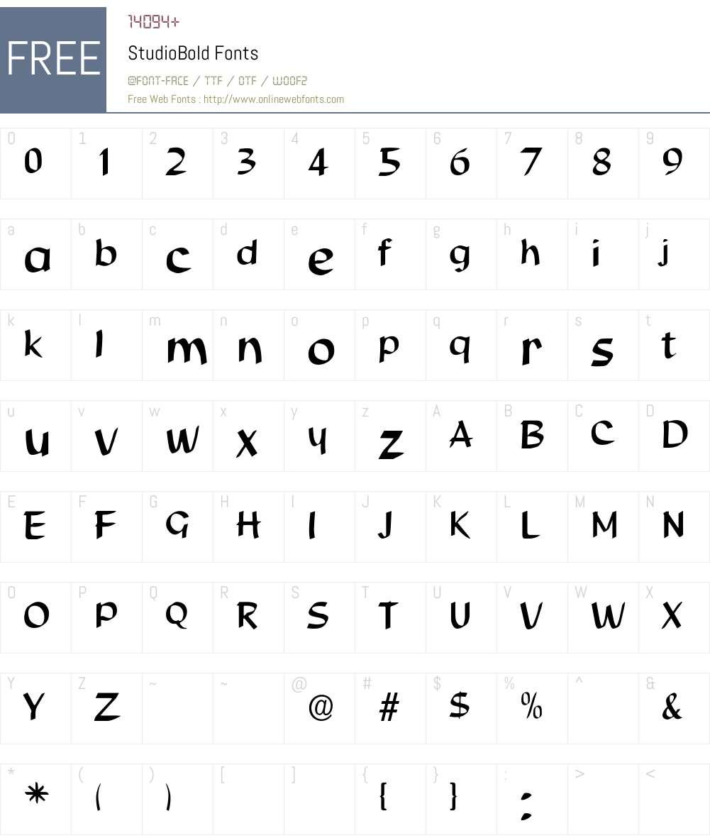StudioBold Font Screenshots