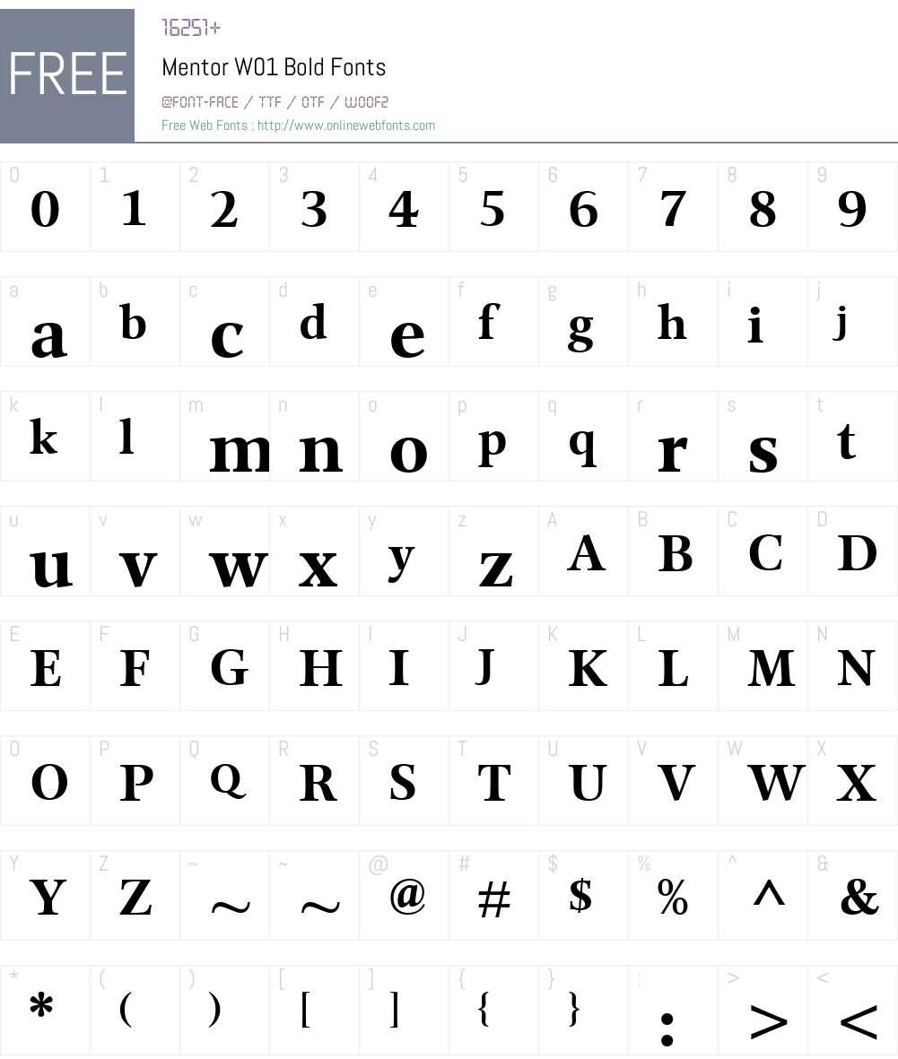 MentorW01-Bold Font Screenshots