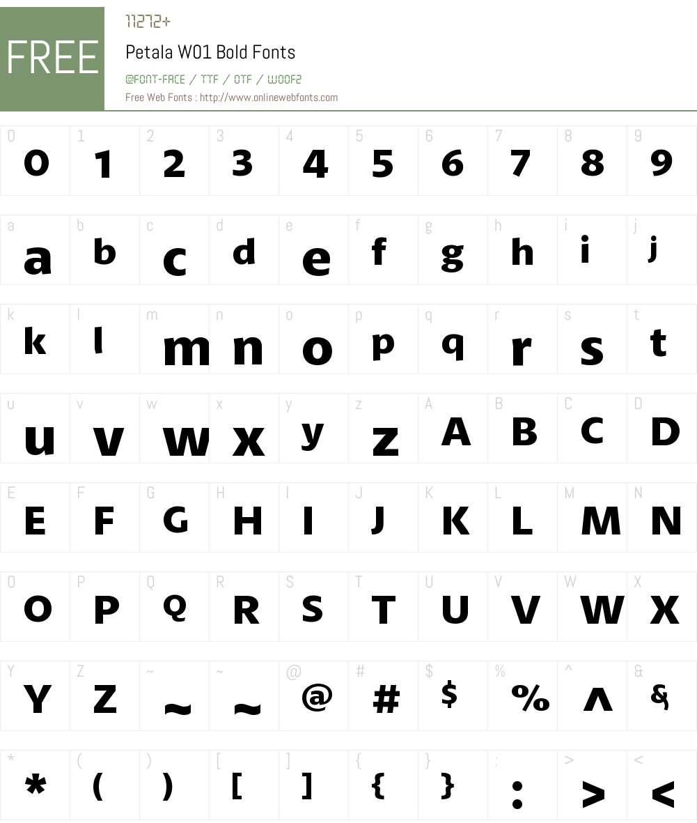 PetalaW01-Bold Font Screenshots