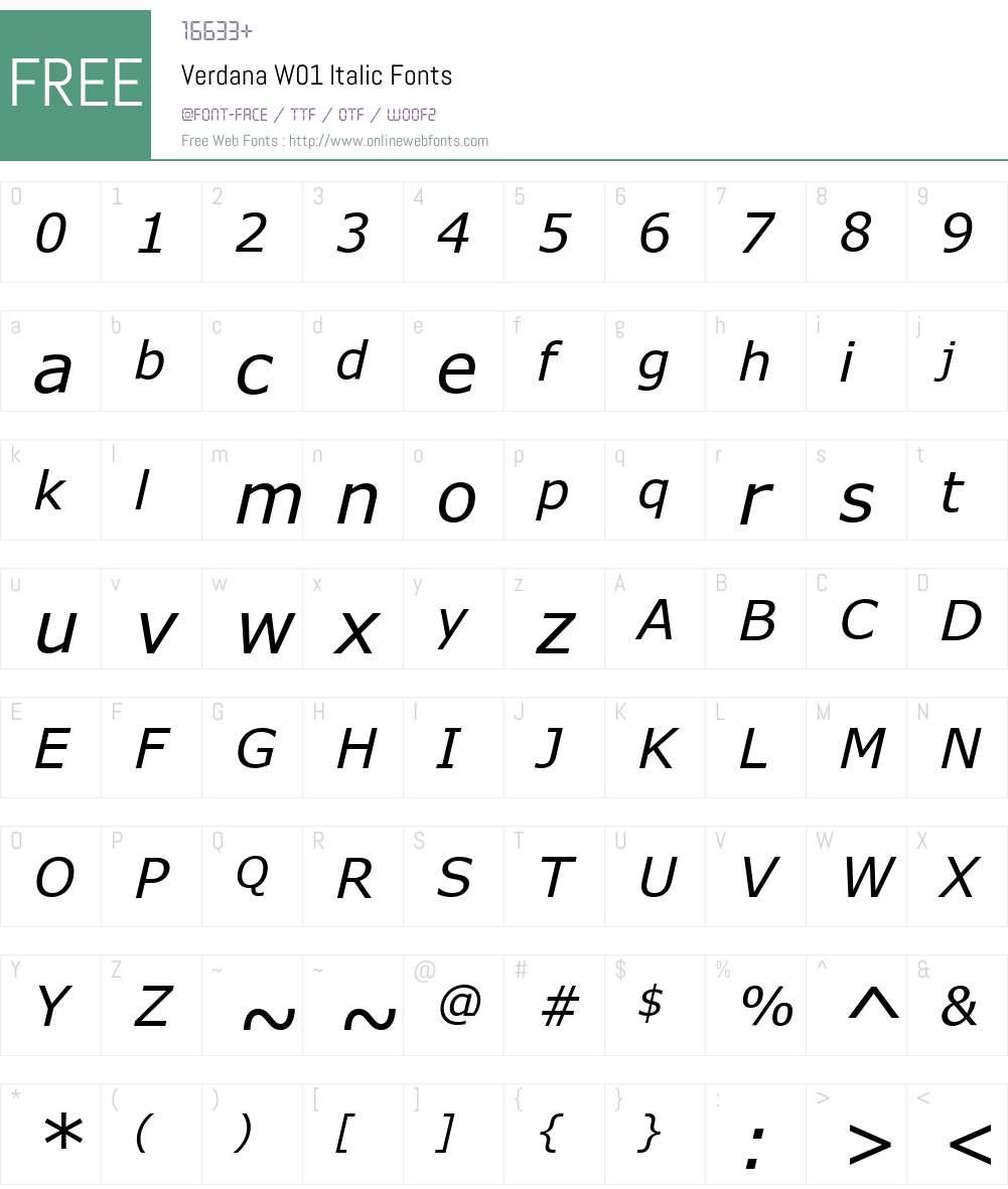 VerdanaW01-Italic Font Screenshots