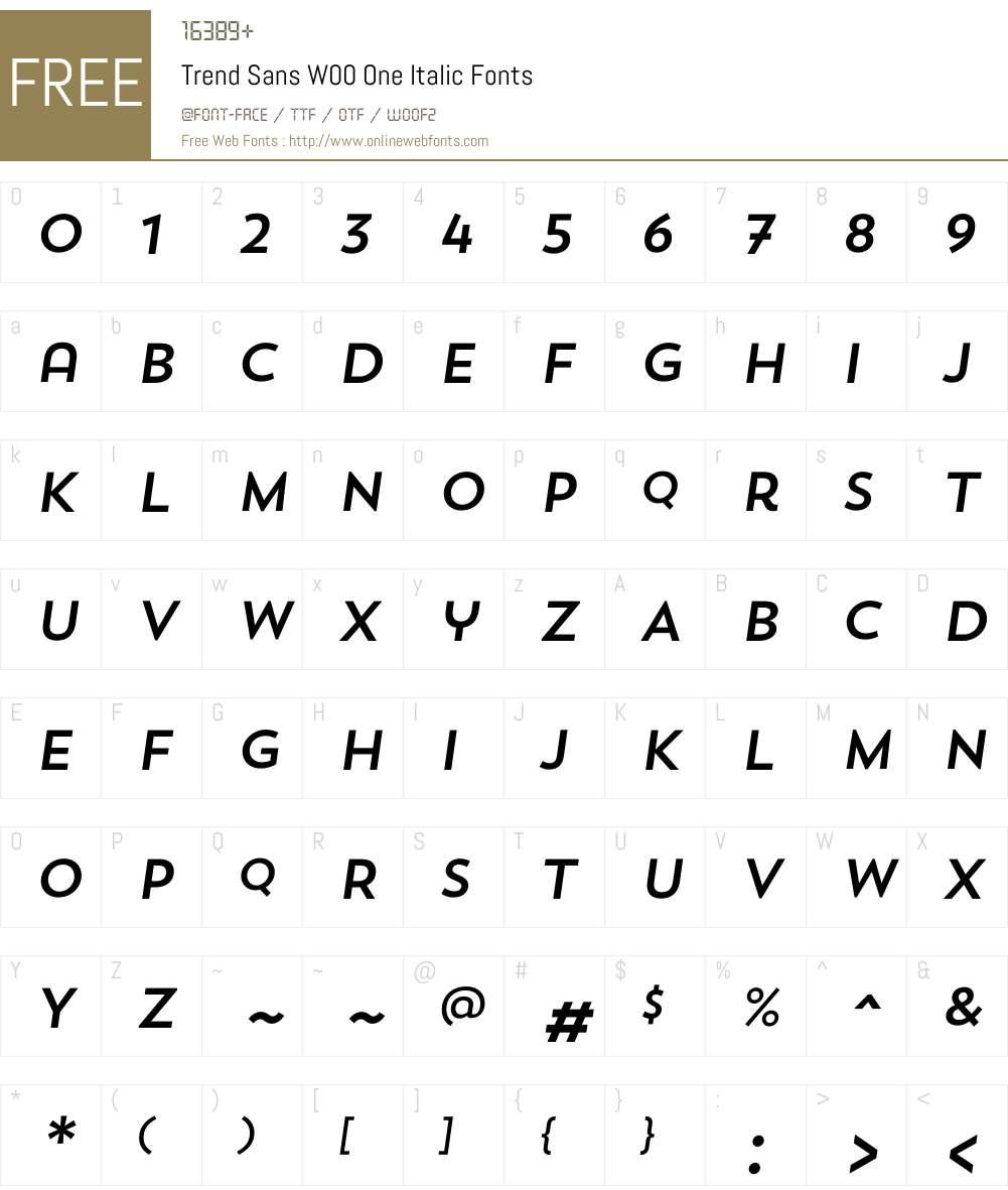 TrendSansW00-OneItalic Font Screenshots