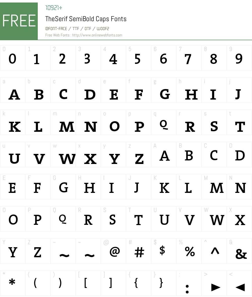 The Serif Semi Bold- Font Screenshots