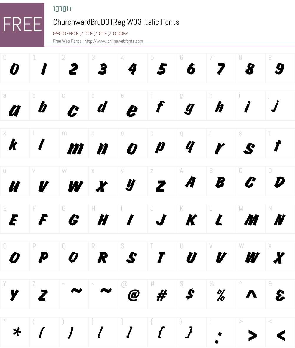 Churchward Brush Font Screenshots