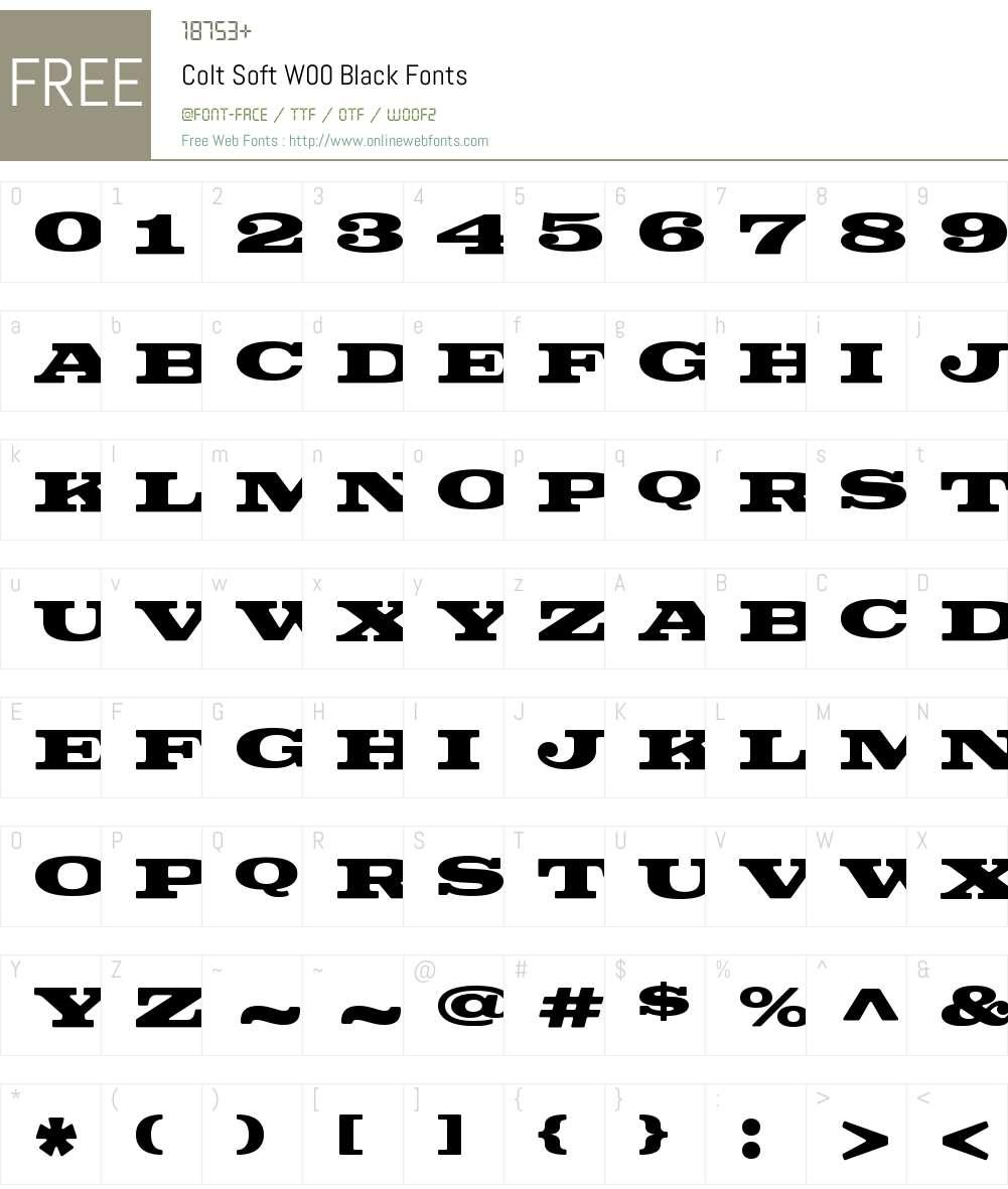 ColtSoftW00-Black Font Screenshots