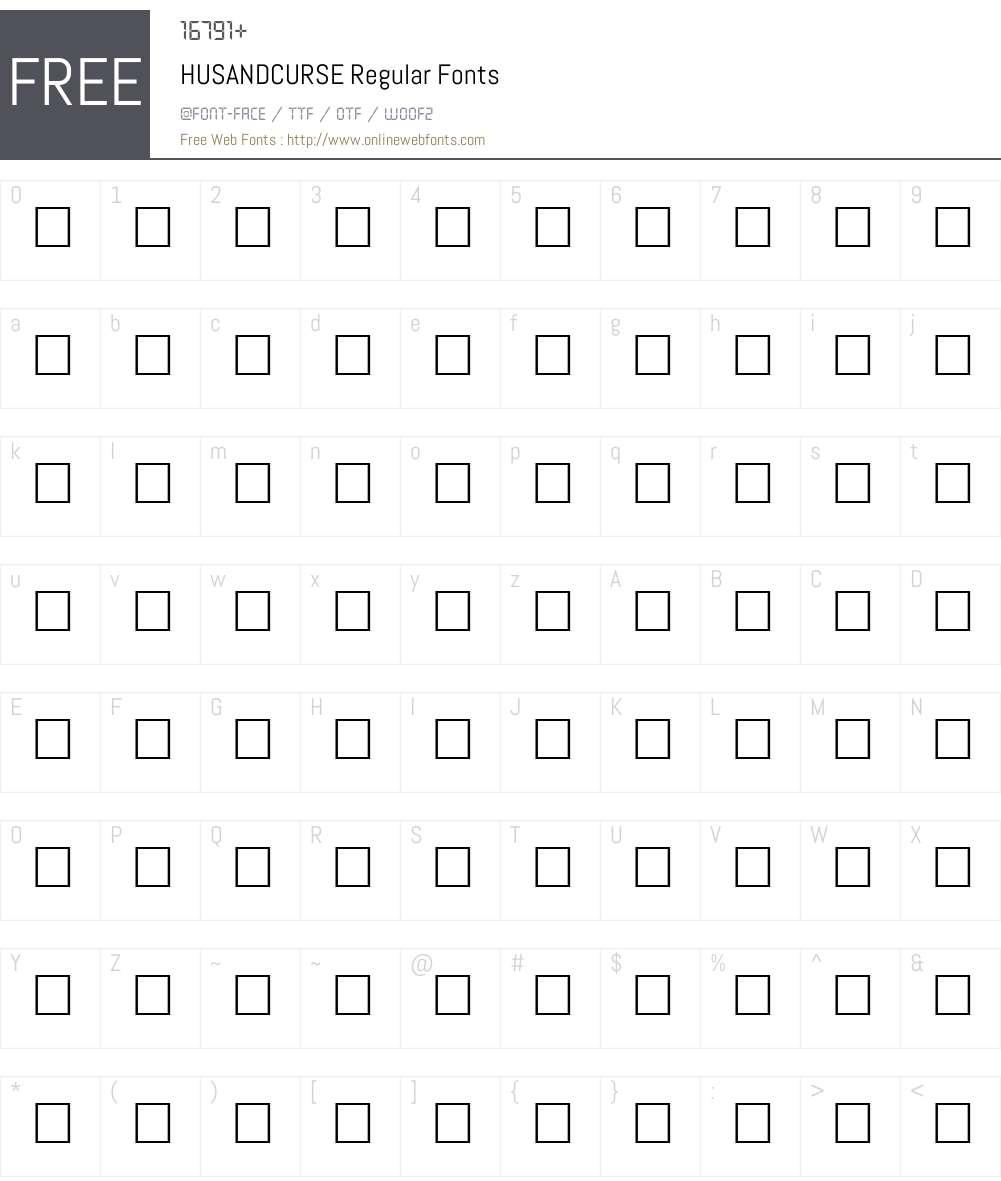 HUSANDCURSE Font Screenshots