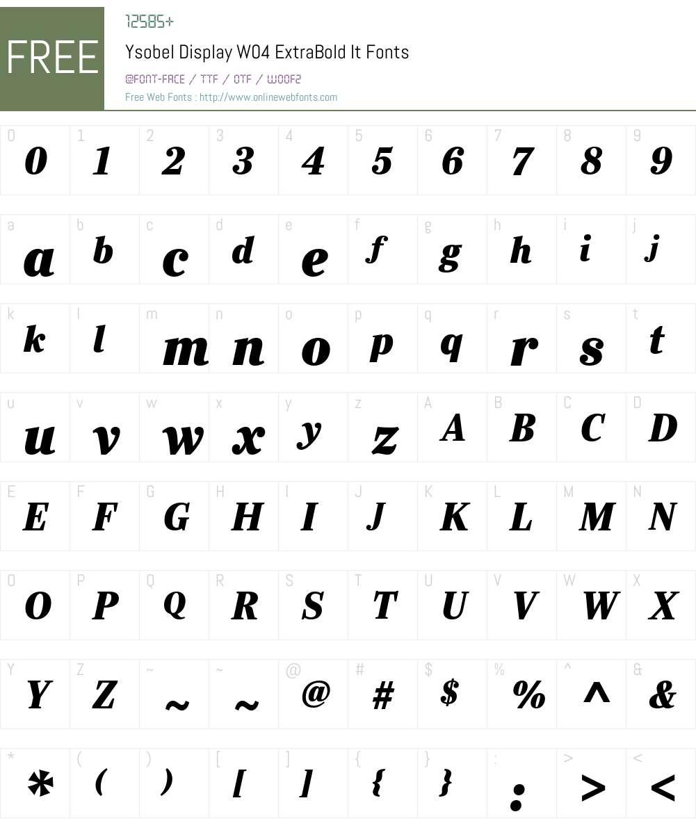 Ysobel Font Screenshots