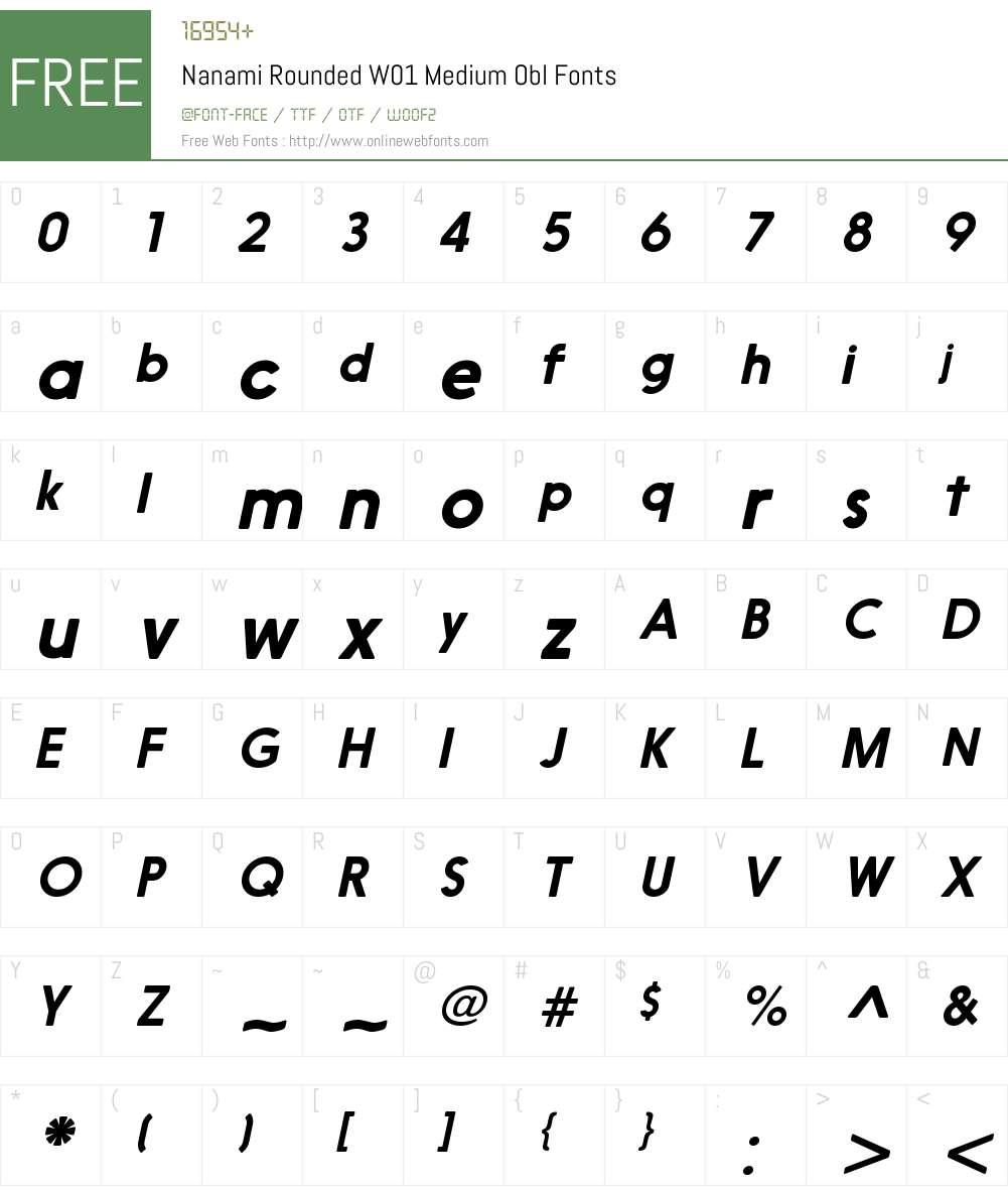 NanamiRoundedW01-MediumObl Font Screenshots