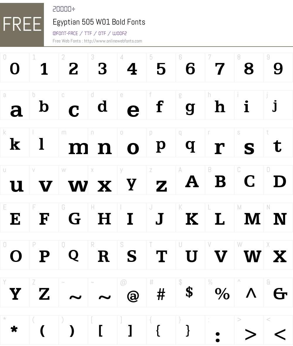 Egyptian505W01-Bold Font Screenshots