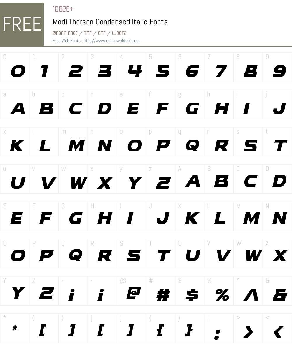 Modi Thorson Condensed Italic Font Screenshots