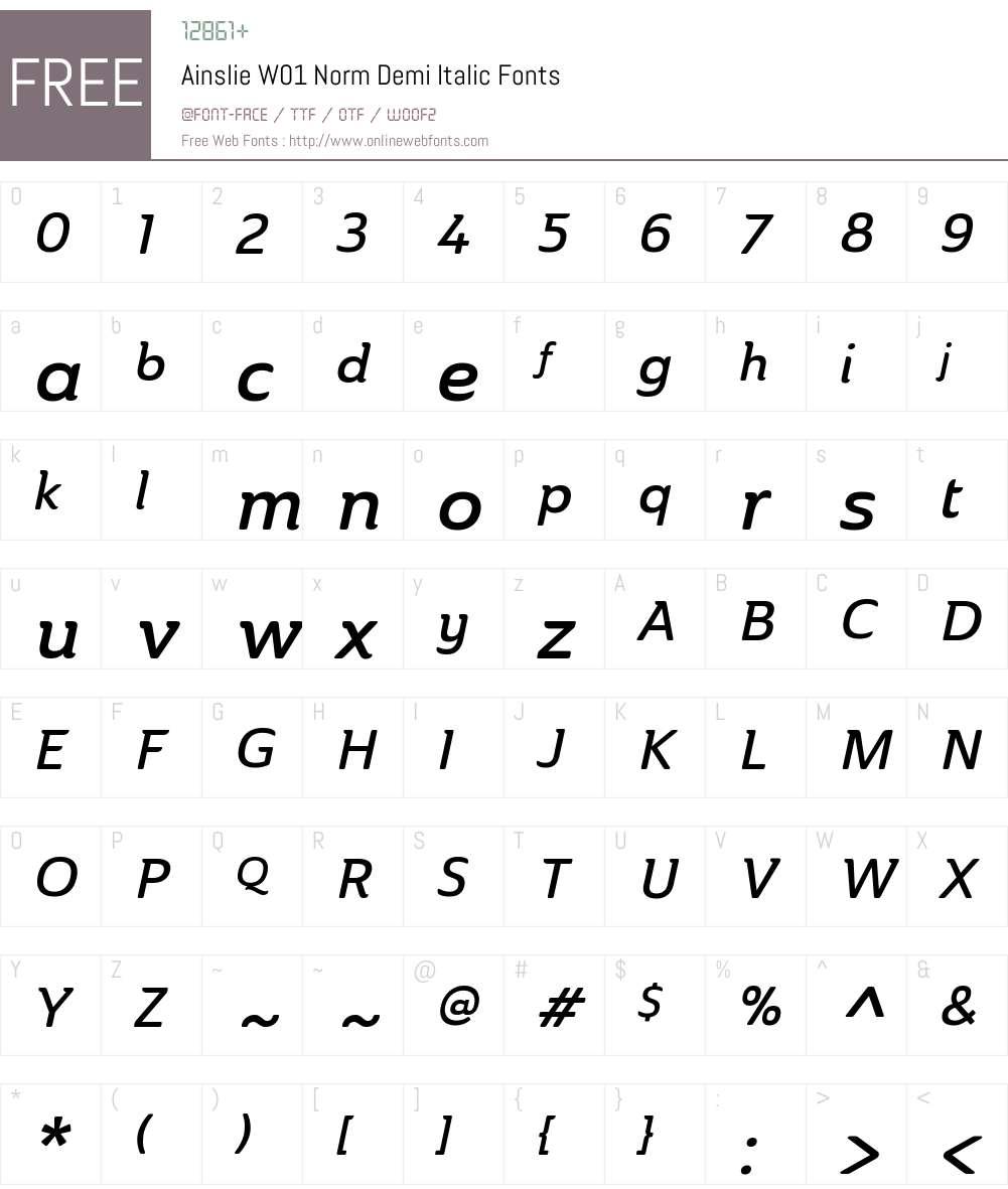AinslieW01-NormDemiItalic Font Screenshots