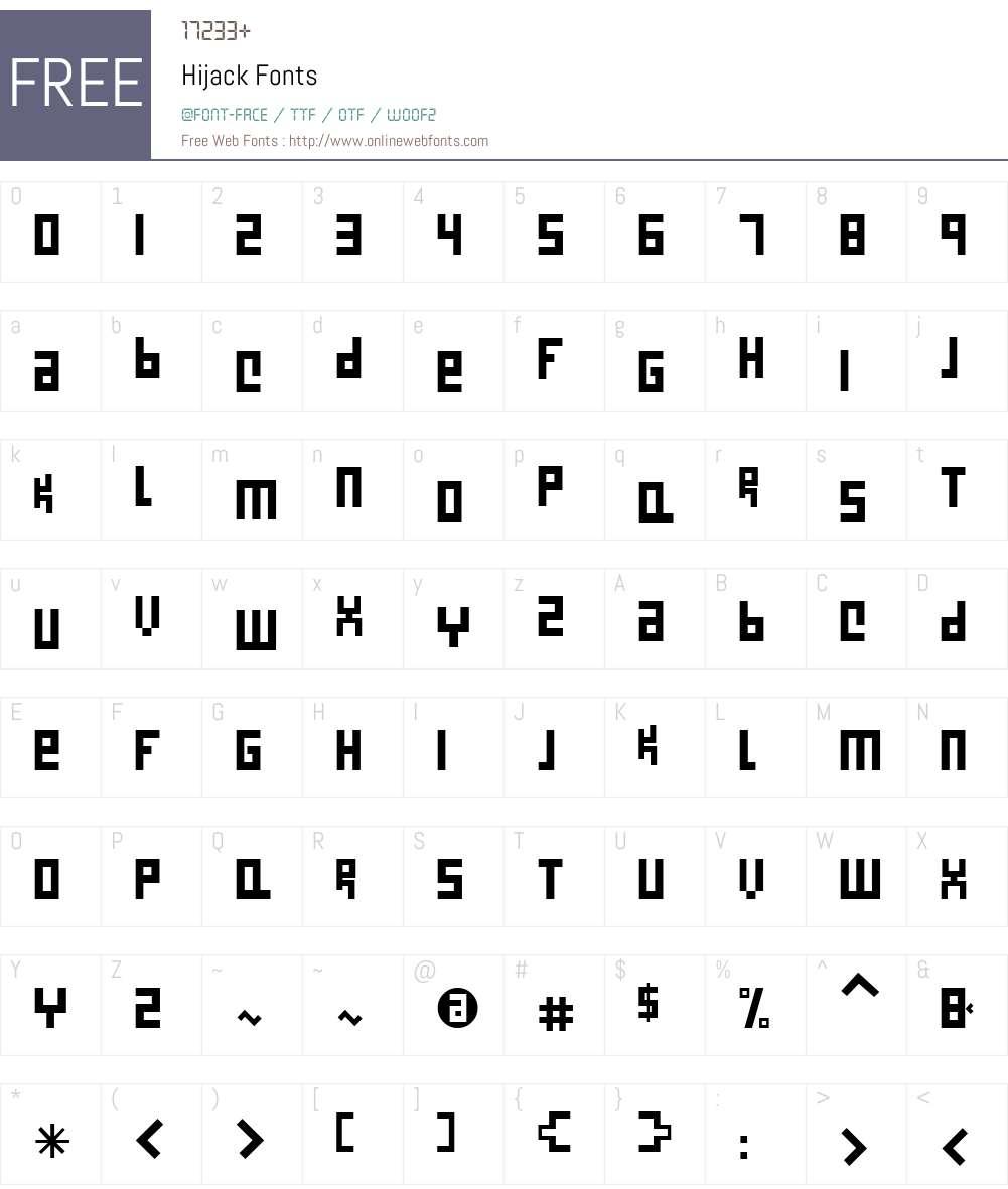 HijackW01-Reg Font Screenshots
