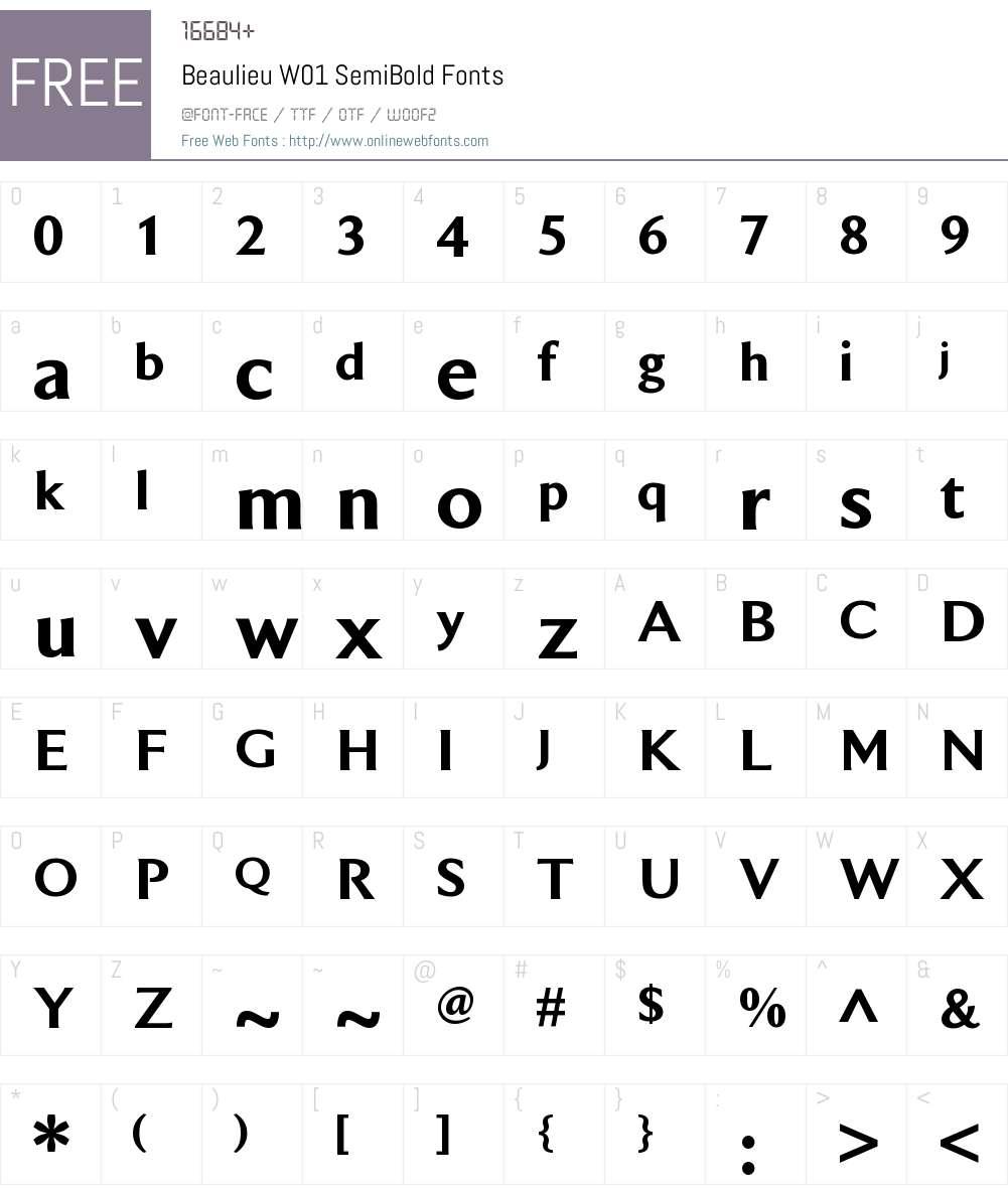 BeaulieuW01-SemiBold Font Screenshots