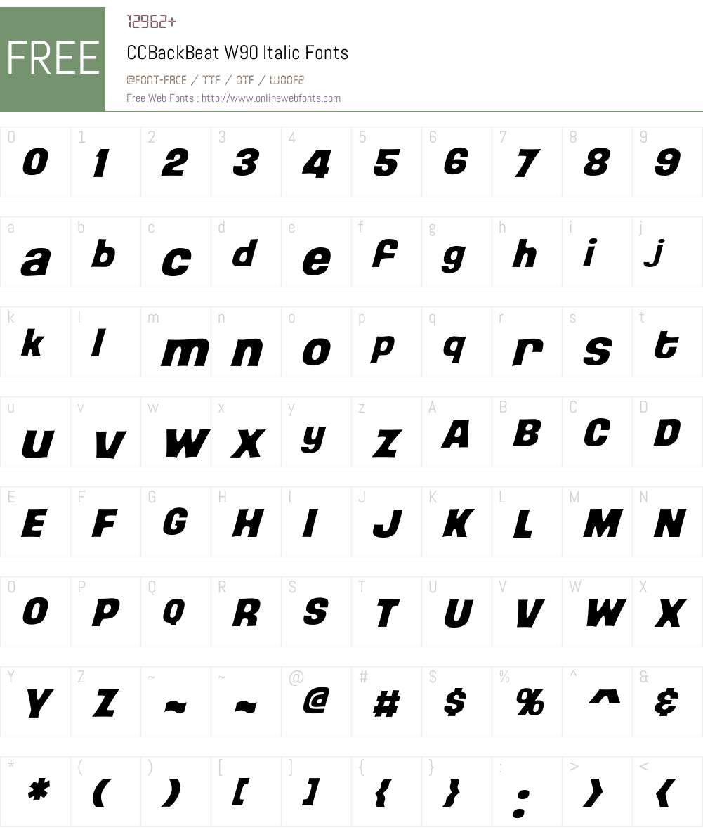 CCBackBeatW90-Italic Font Screenshots