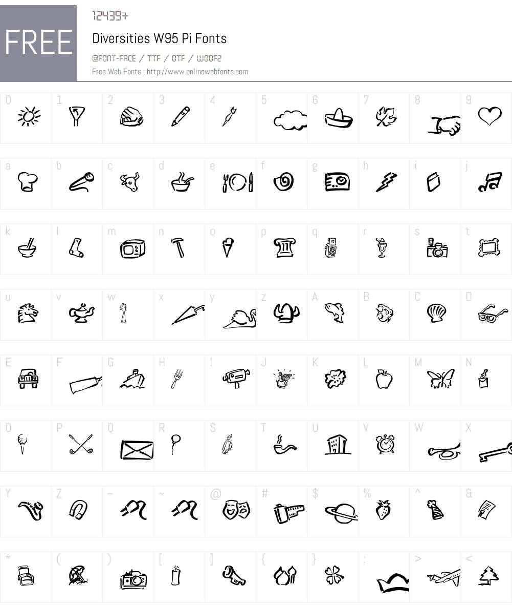 DiversitiesW95-Pi Font Screenshots