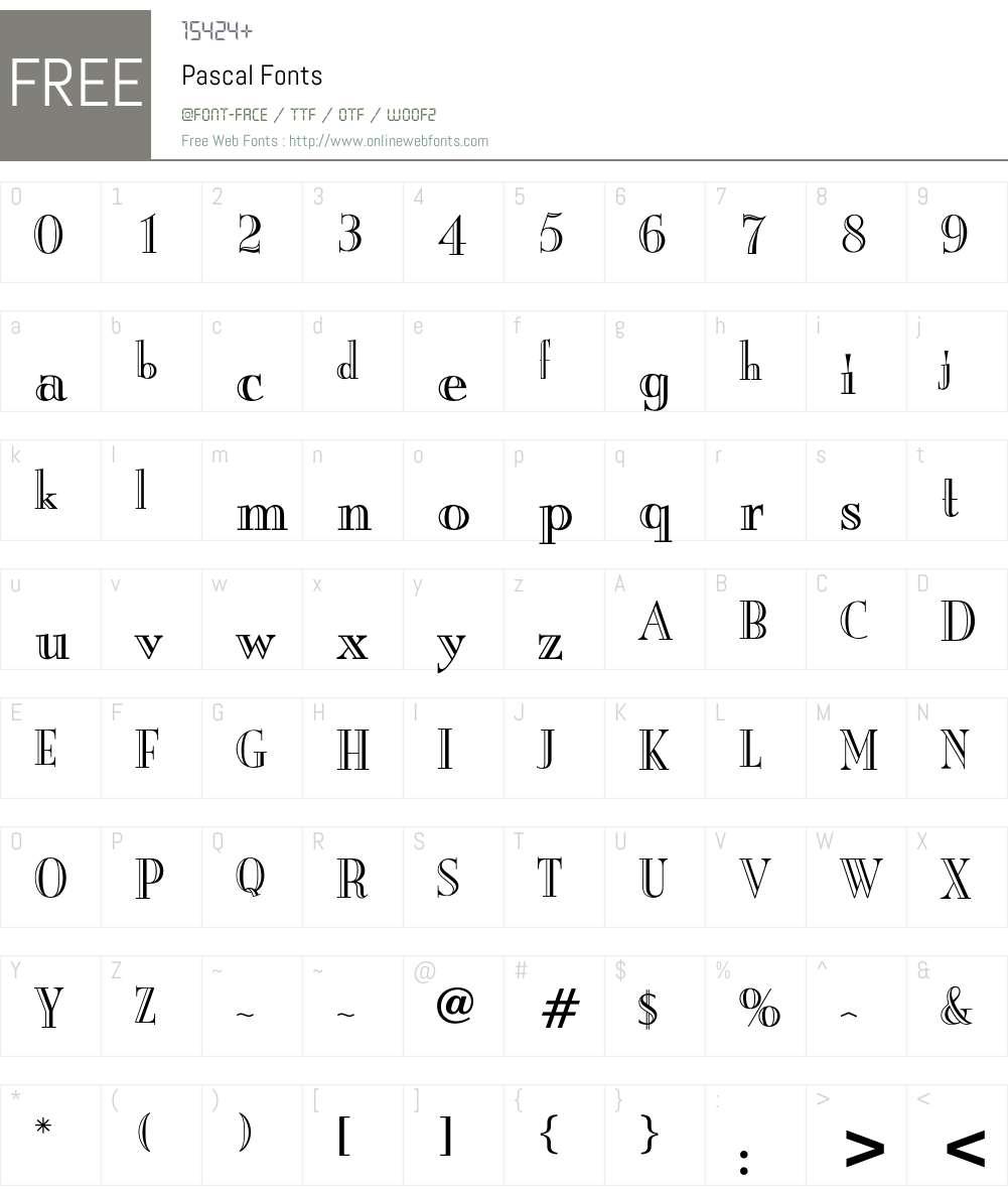 Pascal Font Screenshots