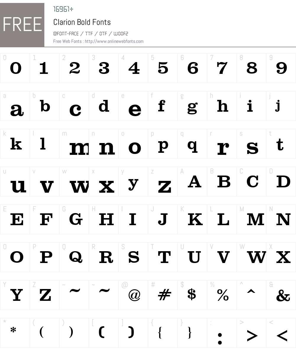Clarion Font Screenshots