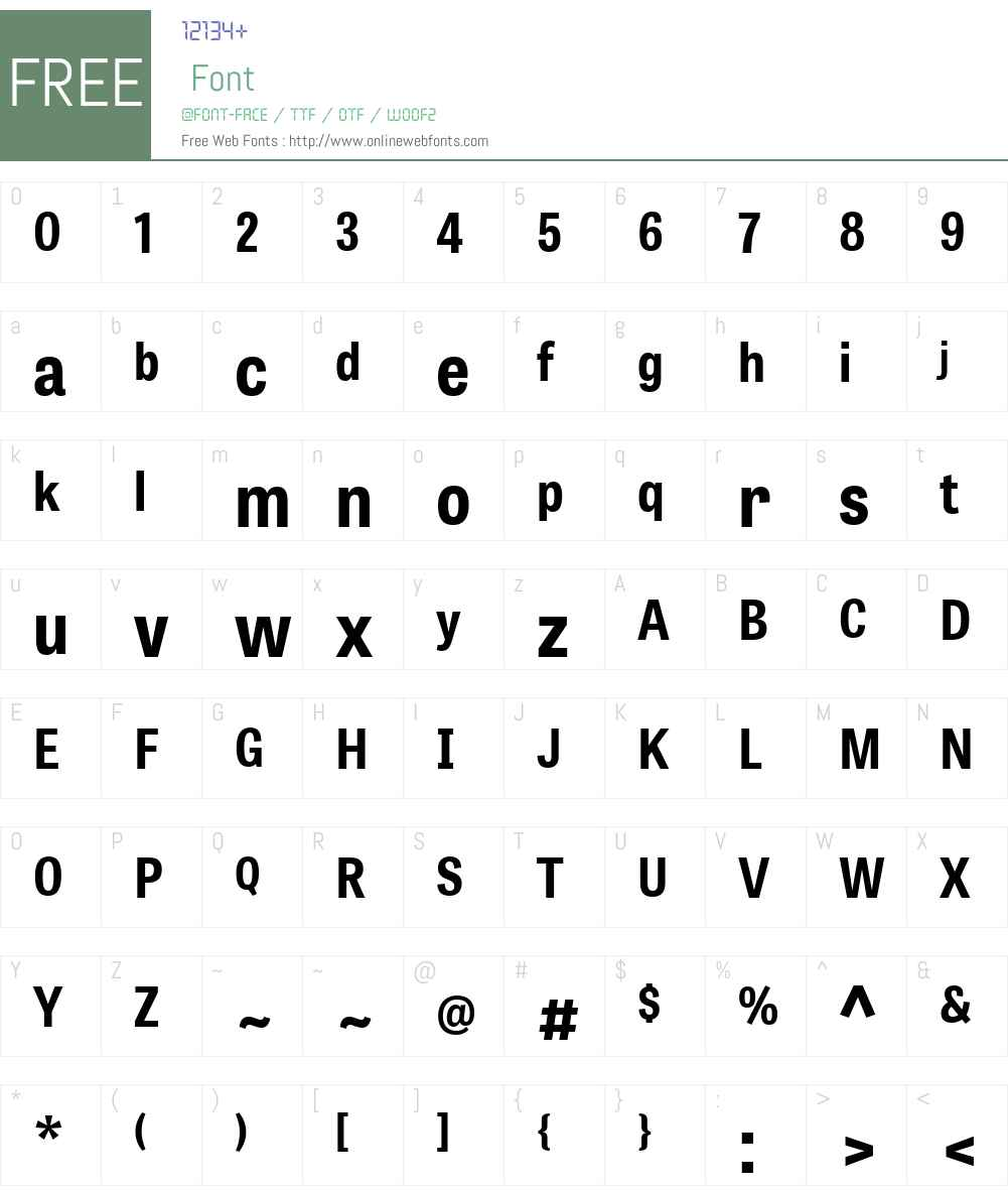 TabletGothicSemiCondensedW01-Bd Font Screenshots