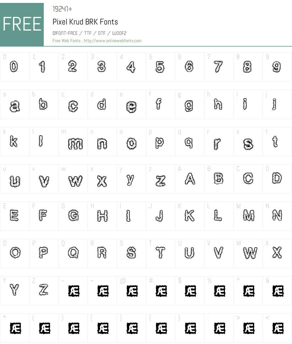Pixel Krud BRK Font Screenshots