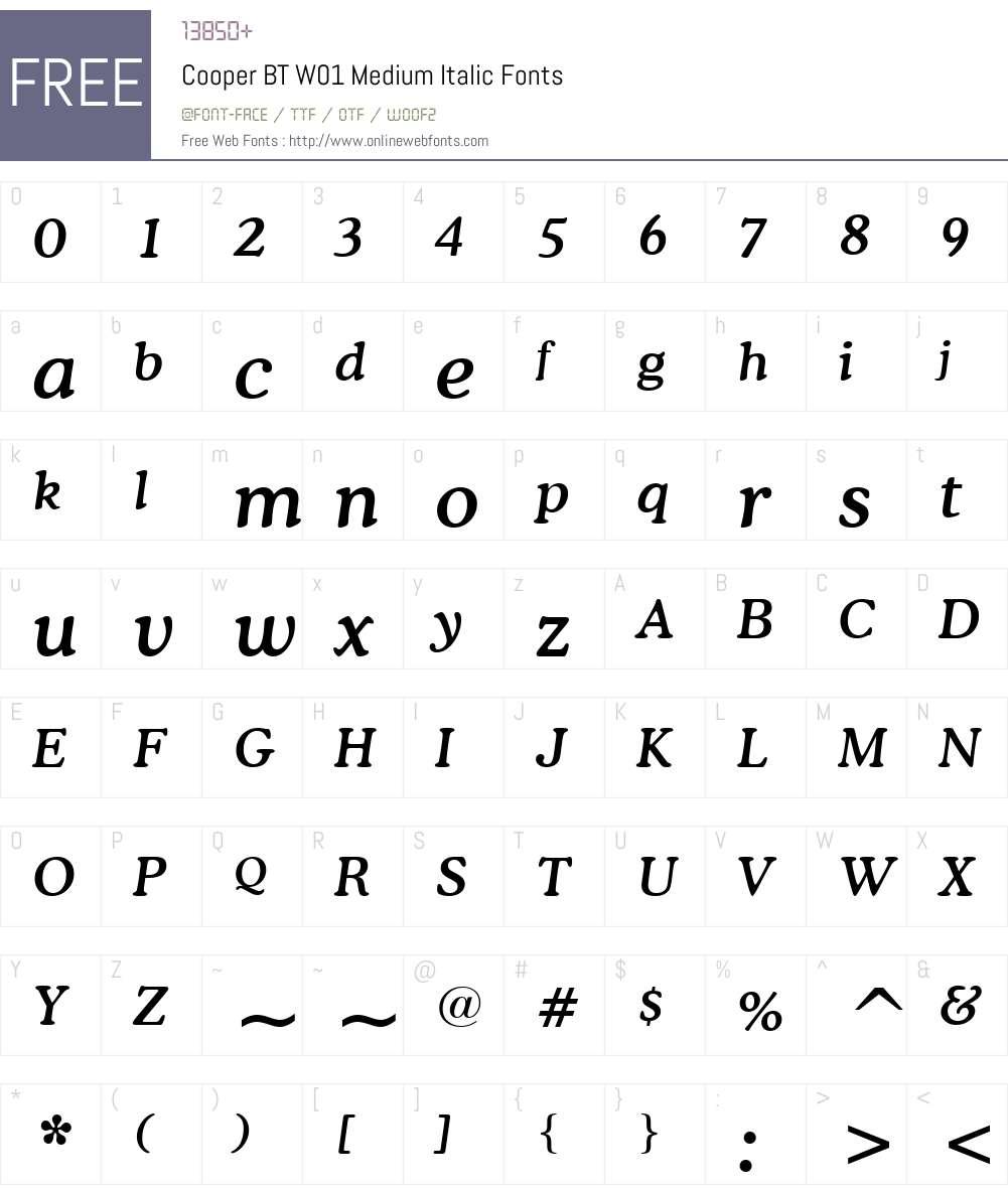 CooperBTW01-MediumItalic Font Screenshots