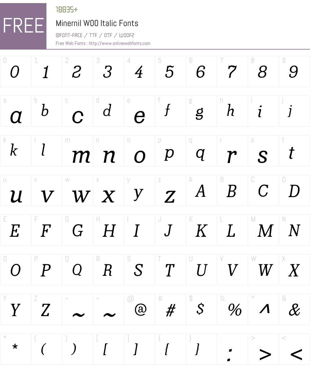 MinernilW00-Italic Font Screenshots