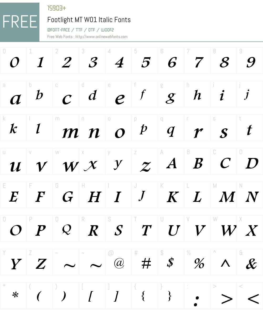 FootlightMTW01-Italic Font Screenshots