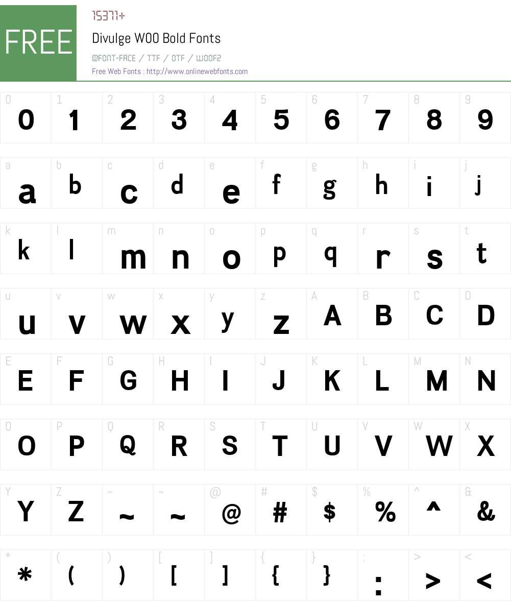 DivulgeW00-Bold Font Screenshots