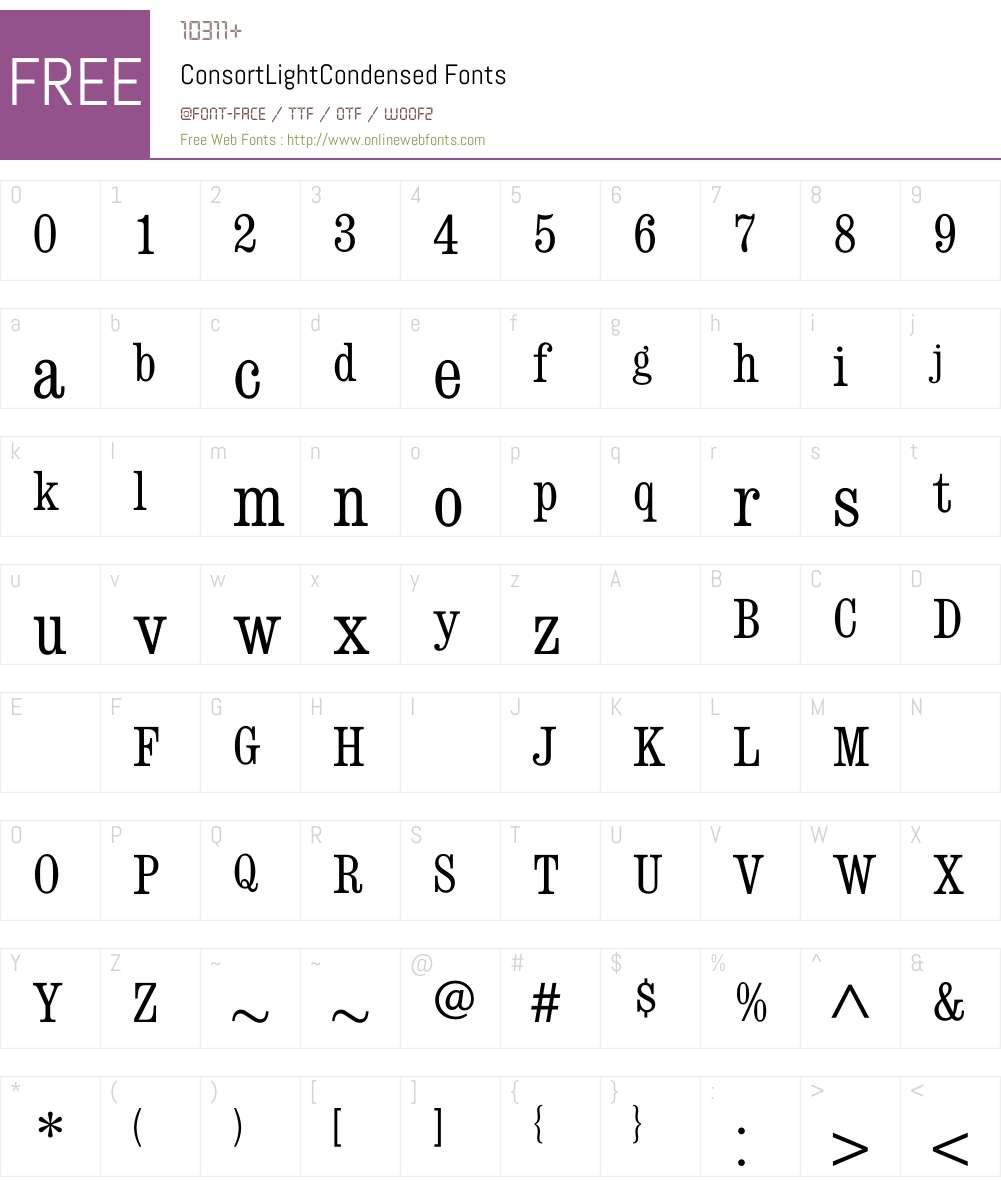 ConsortLightCondensed Font Screenshots