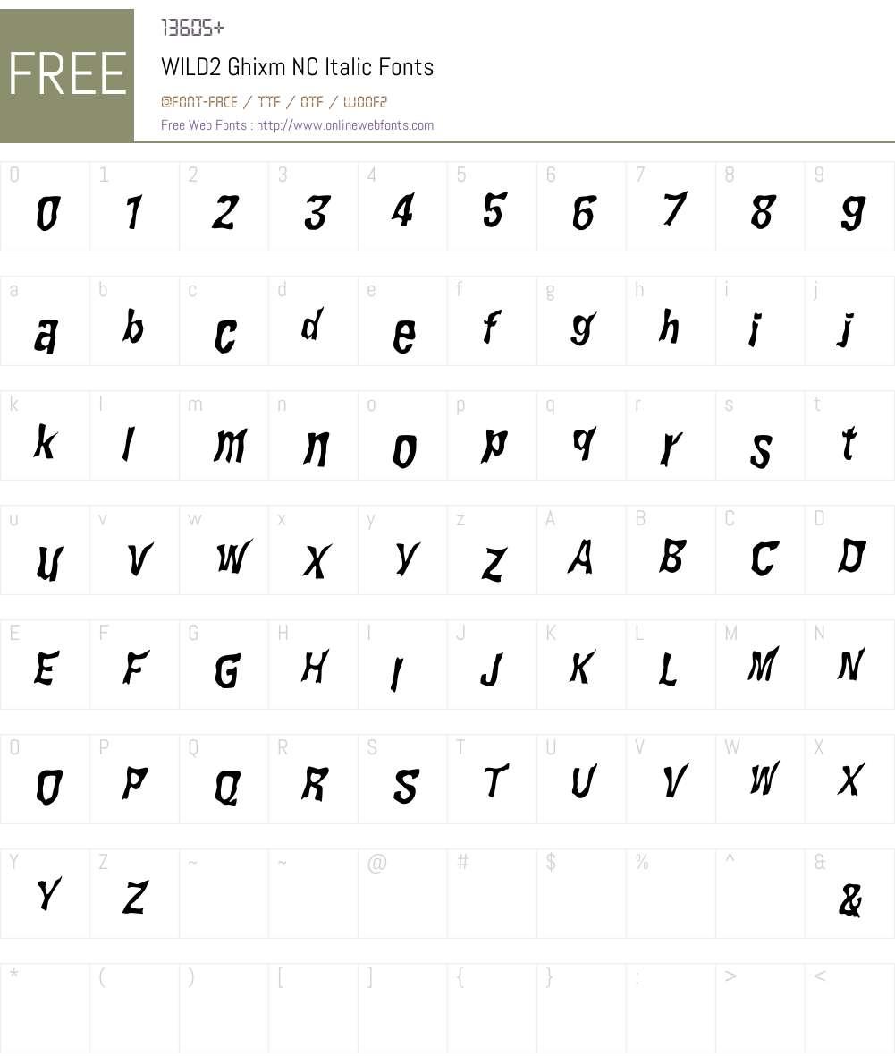 WILD2 Ghixm NC Font Screenshots