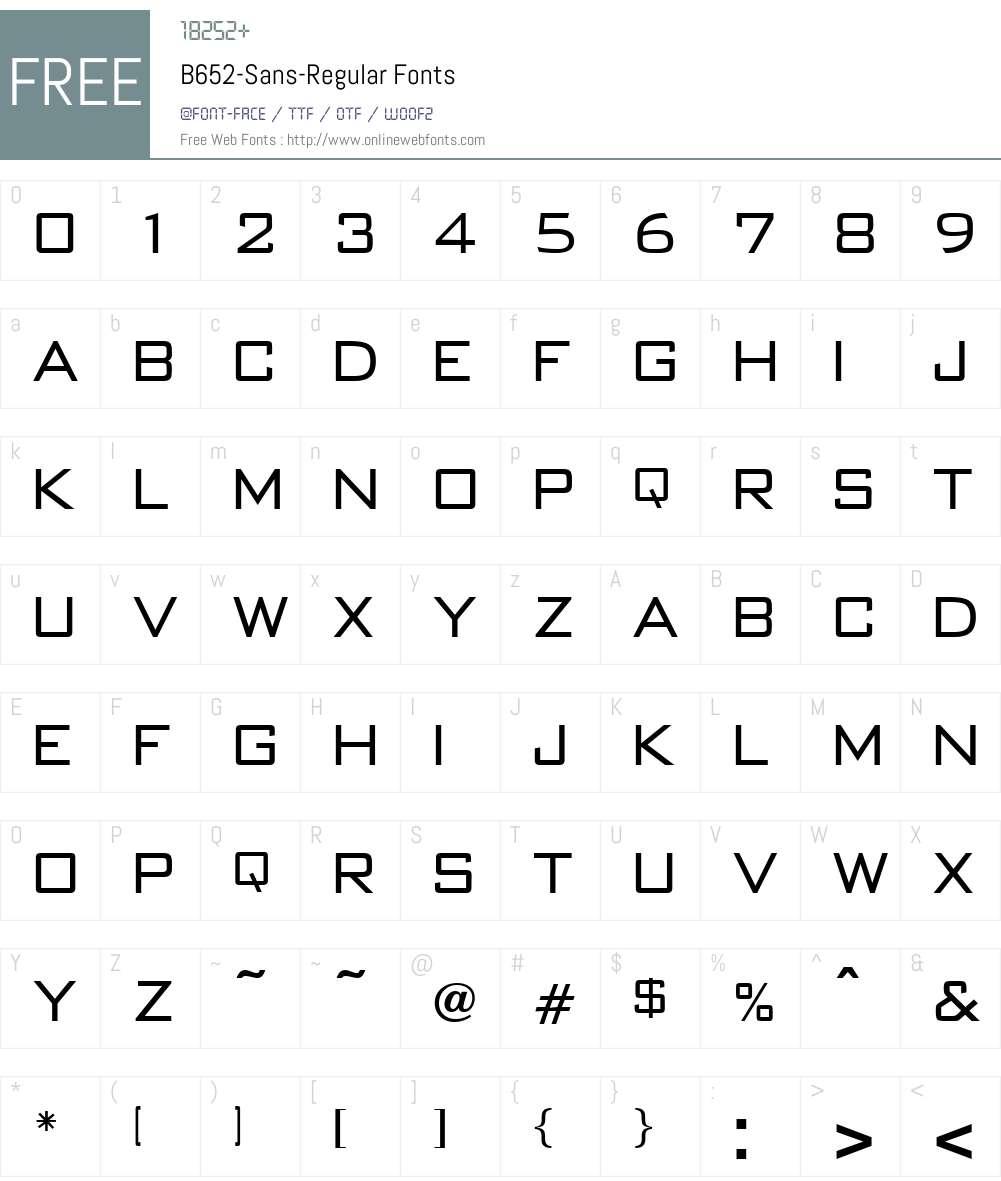 B652-Sans Font Screenshots
