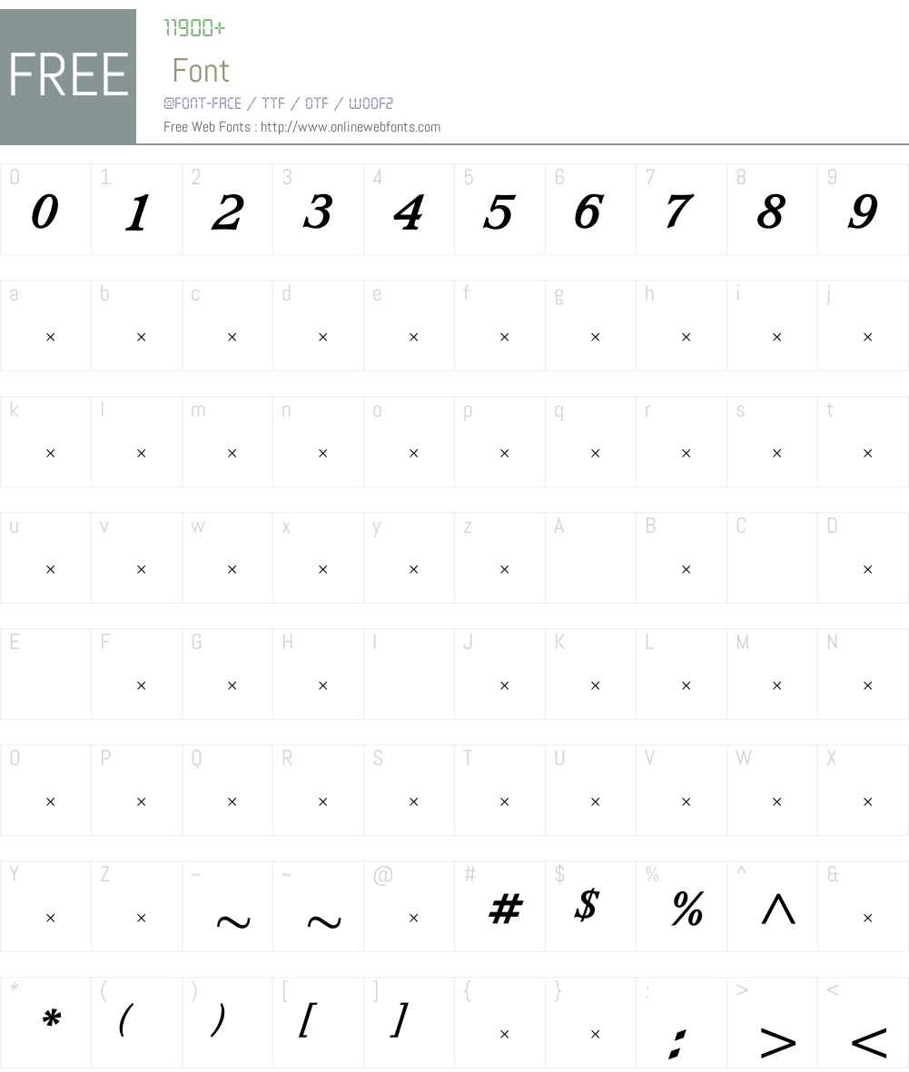 WaverlyBoldItalicTab Font Screenshots